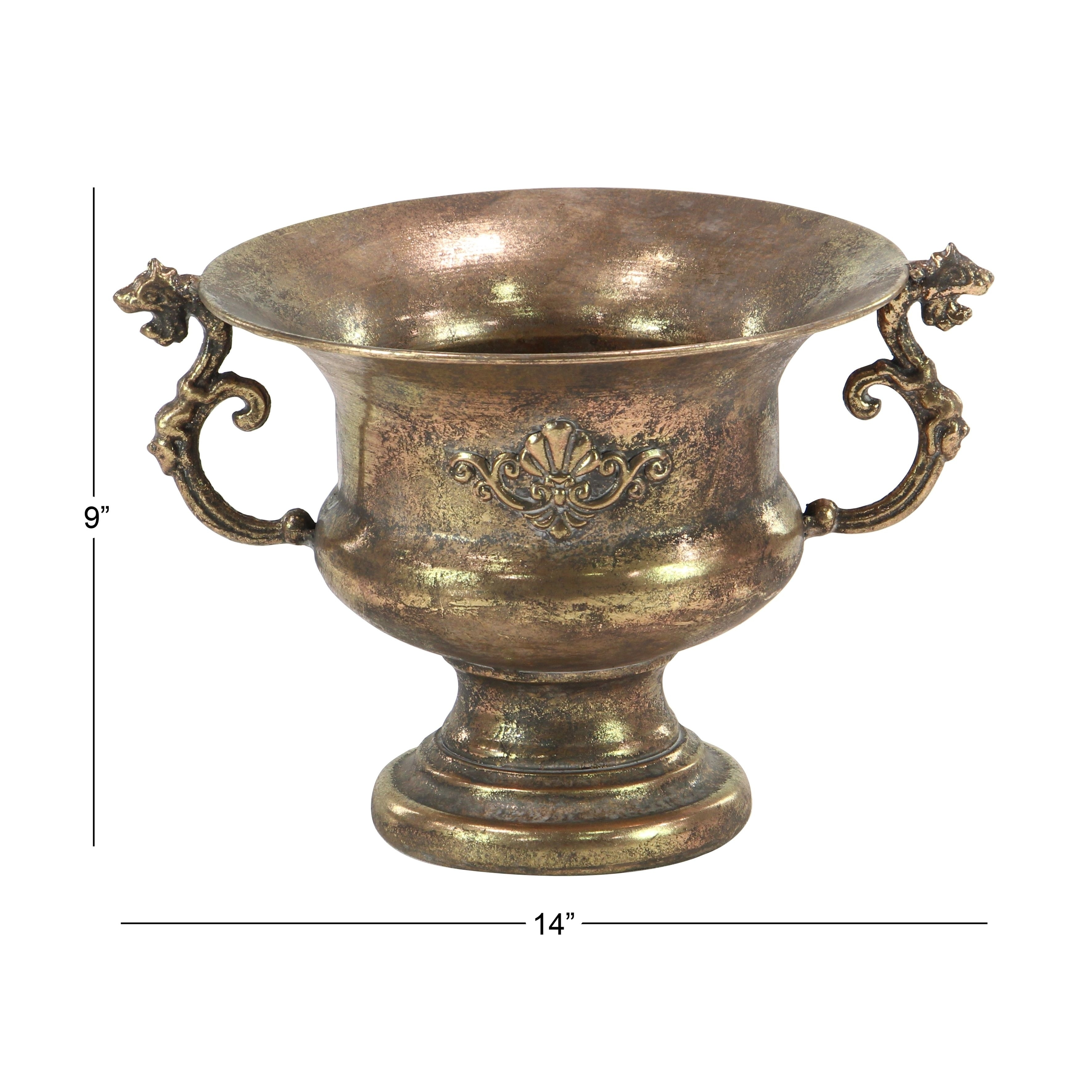 Shop Traditional Iron Scrolled Goblet Urn Planter - On Sale - Free ...