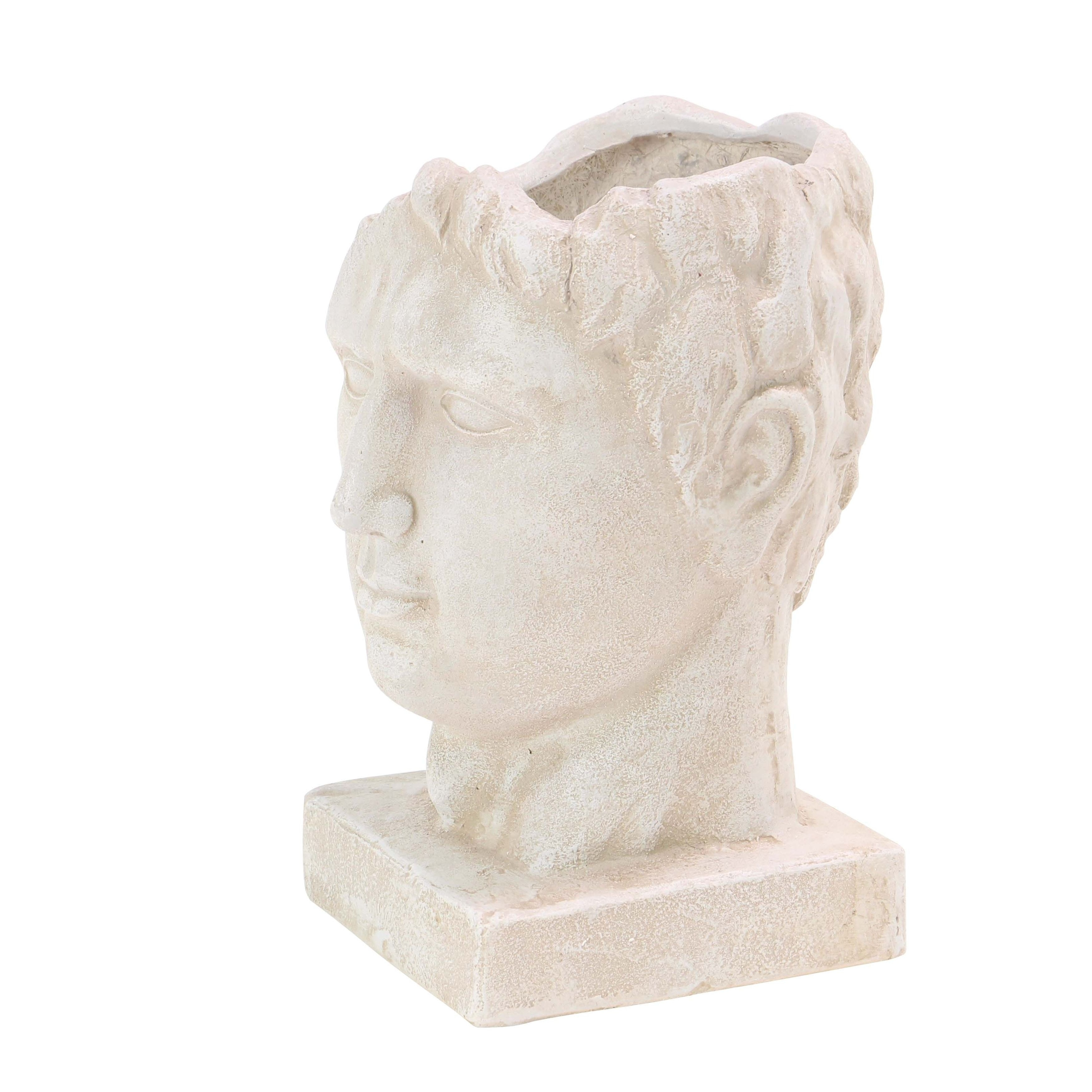 15 inch Traditional Fiber Clay Male Head White Planter - Free ...