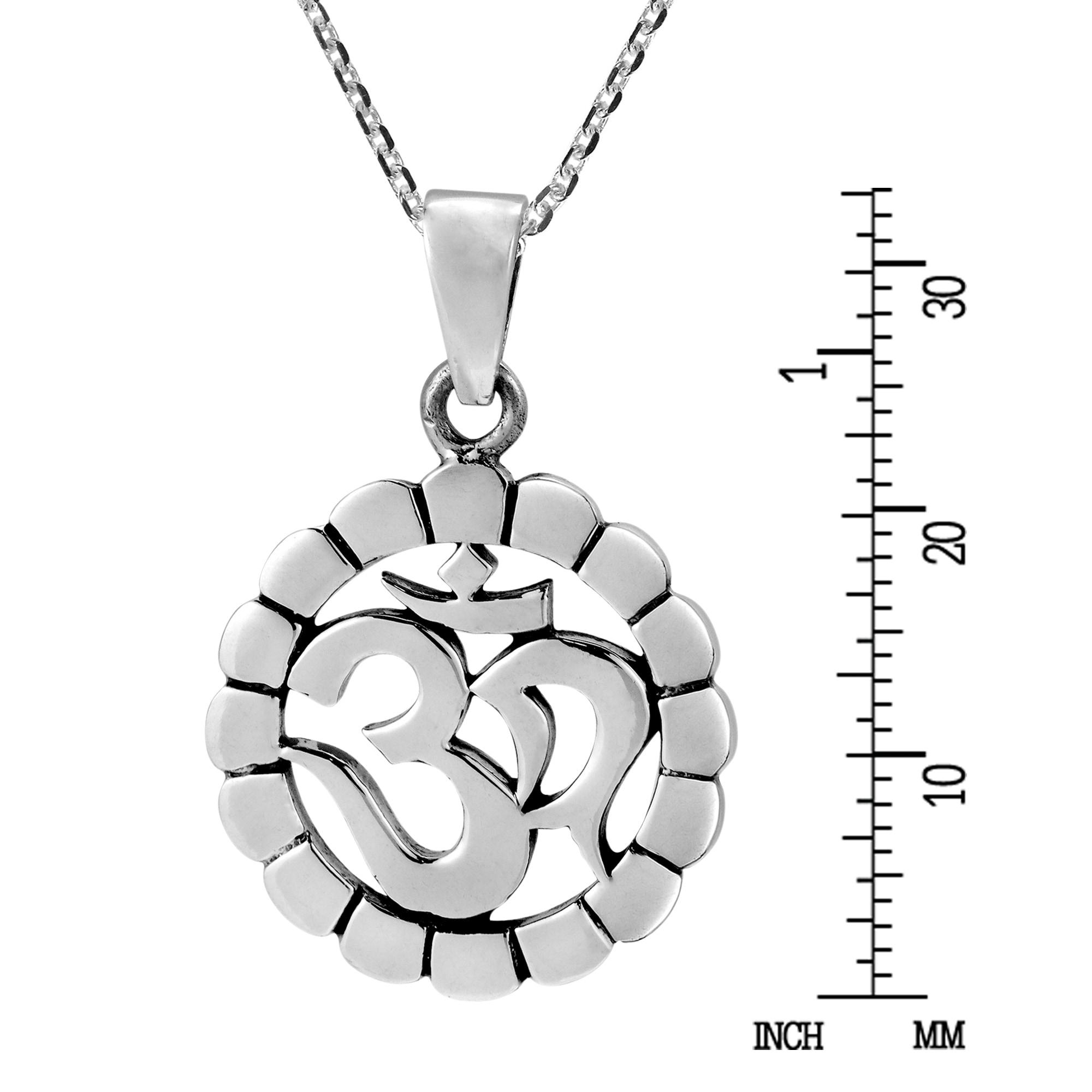 Handmade Aum or Ohm Symbol Circle Disc  925 Silver Necklace (Thailand)
