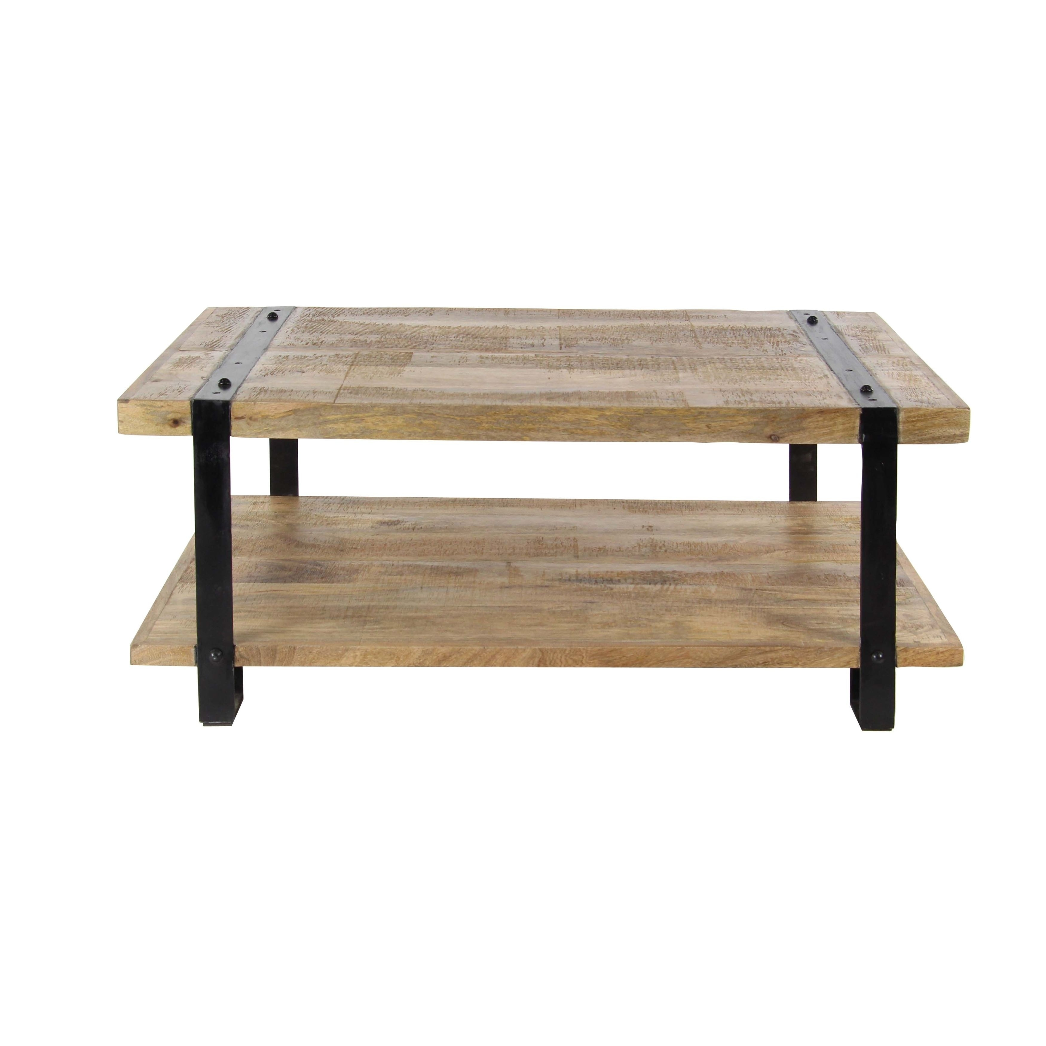 Industrial Mango Wood And Iron Coffee Table   Free Shipping Today    Overstock.com   25546008