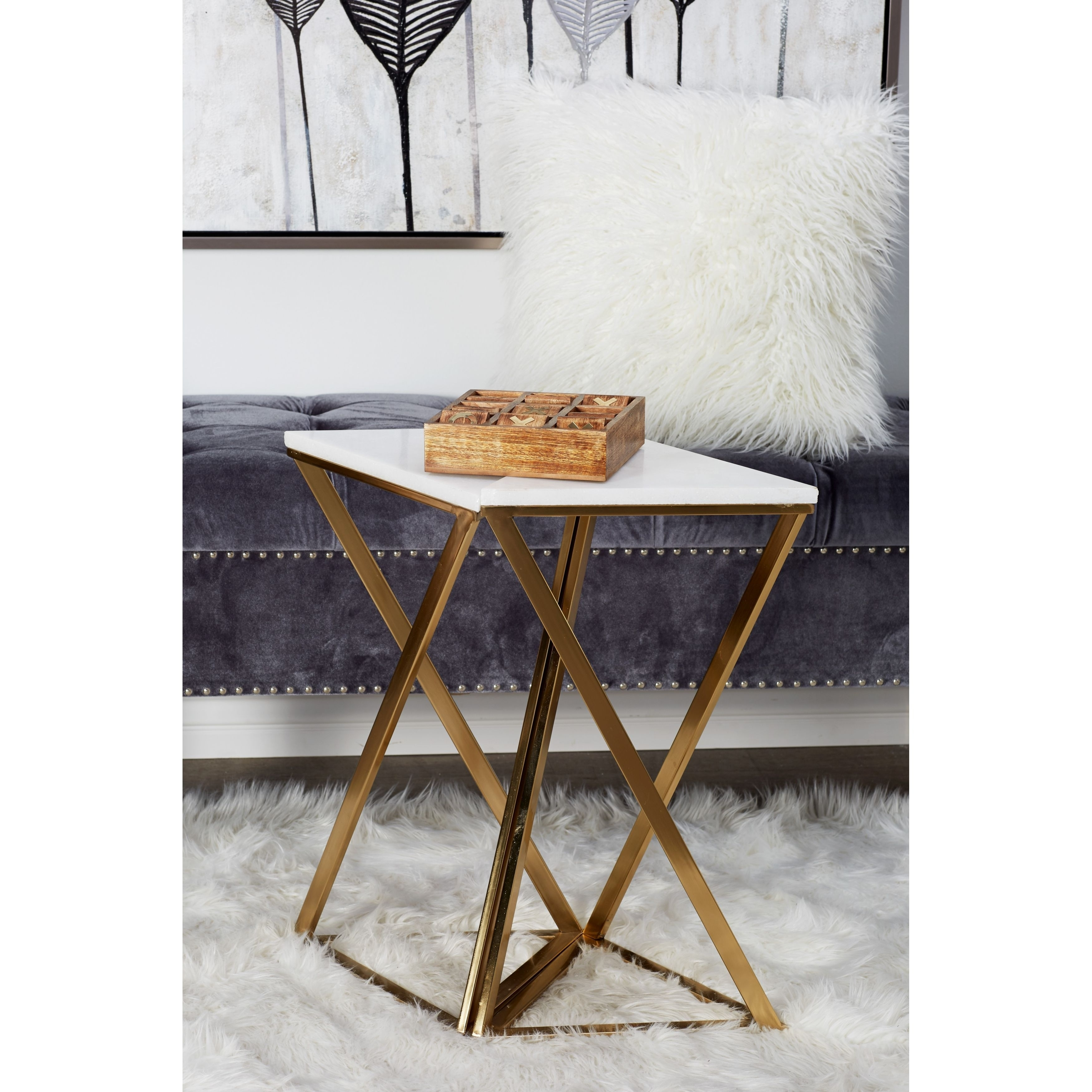 Shop Set Of 2 Iron And Marble Hourglass Accent Tables   On Sale   Free  Shipping Today   Overstock.com   19559584
