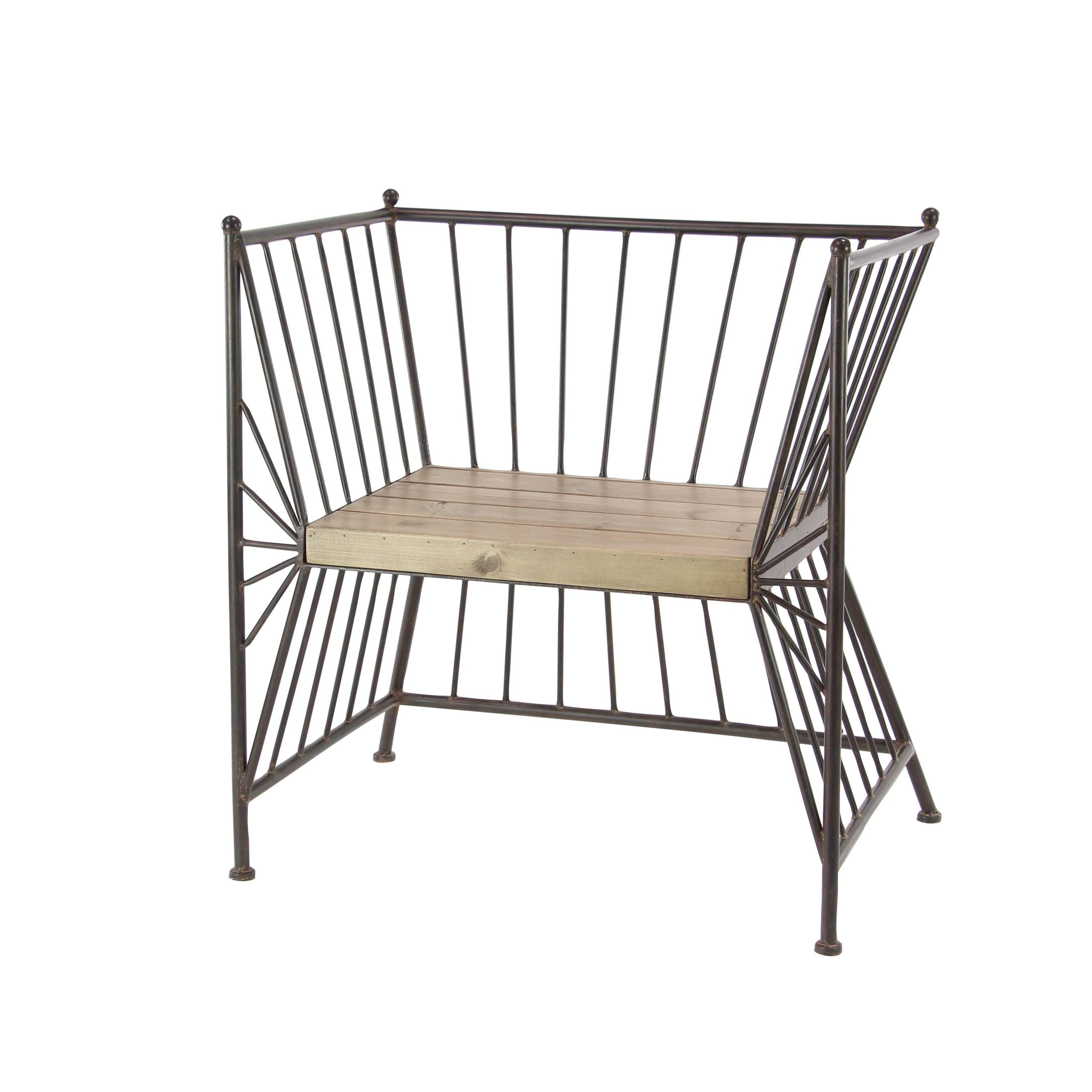 Prime Modern Iron Chair With Wooden Slab Seat Beutiful Home Inspiration Ommitmahrainfo