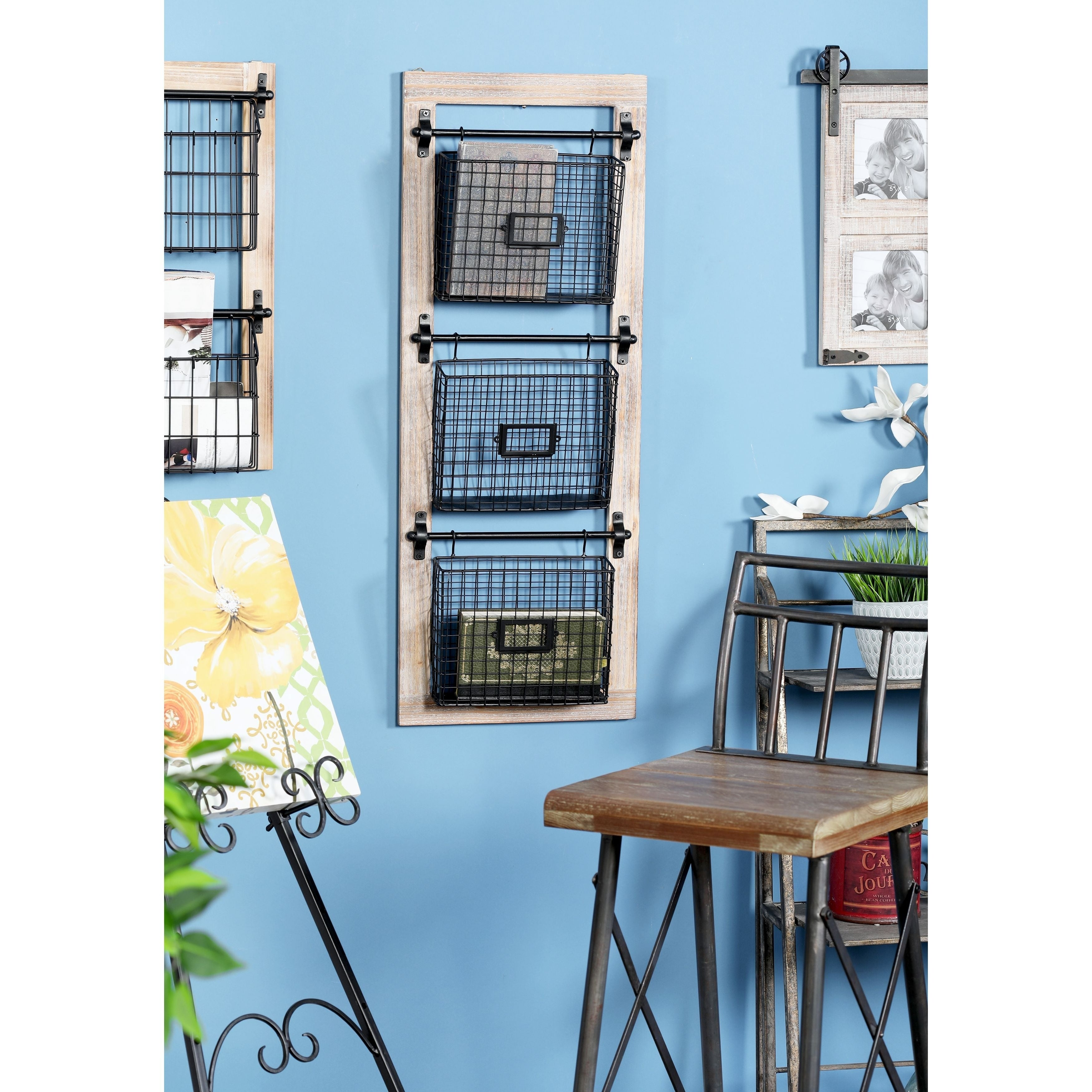 Industrial Wood and Iron 3-Tier Basket Wall Rack with Label Slot ...
