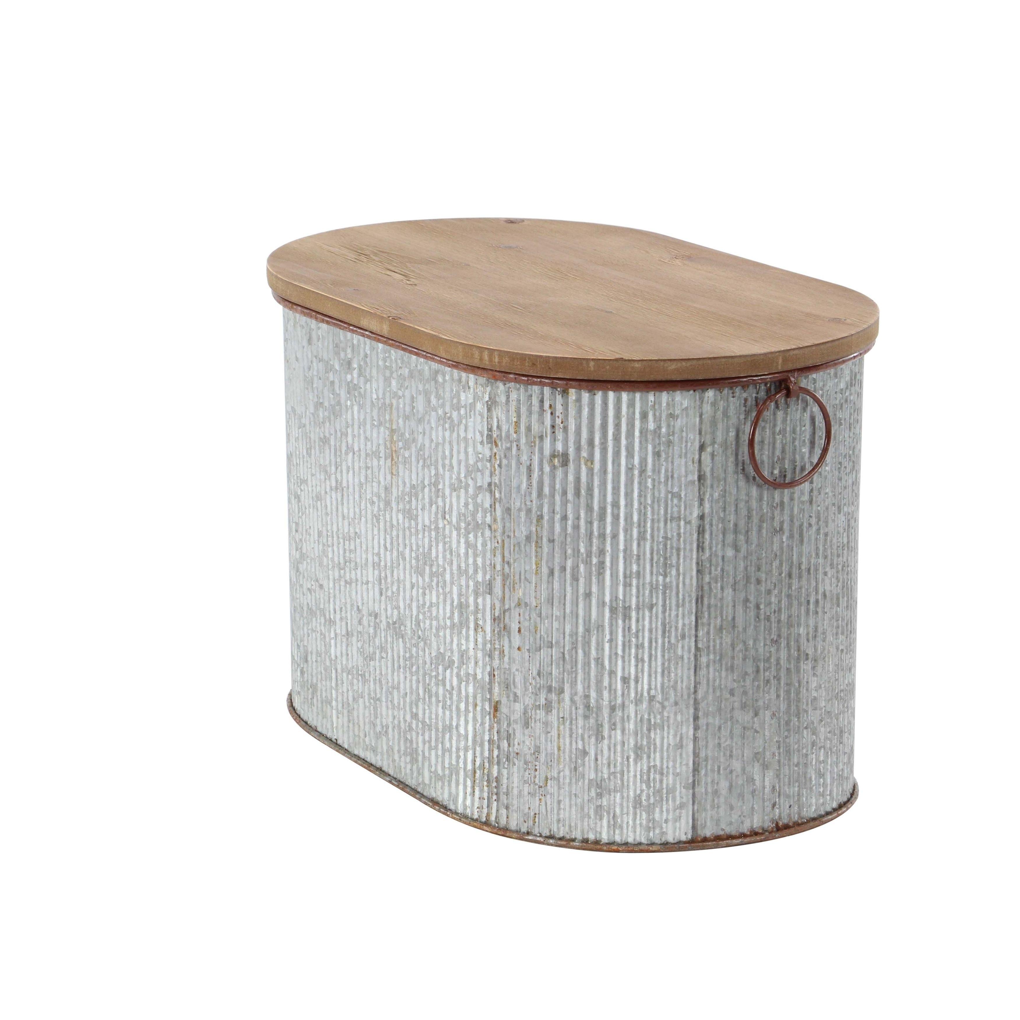 Set Of 3 Iron And Wood Corrugated Oval Storage Boxes