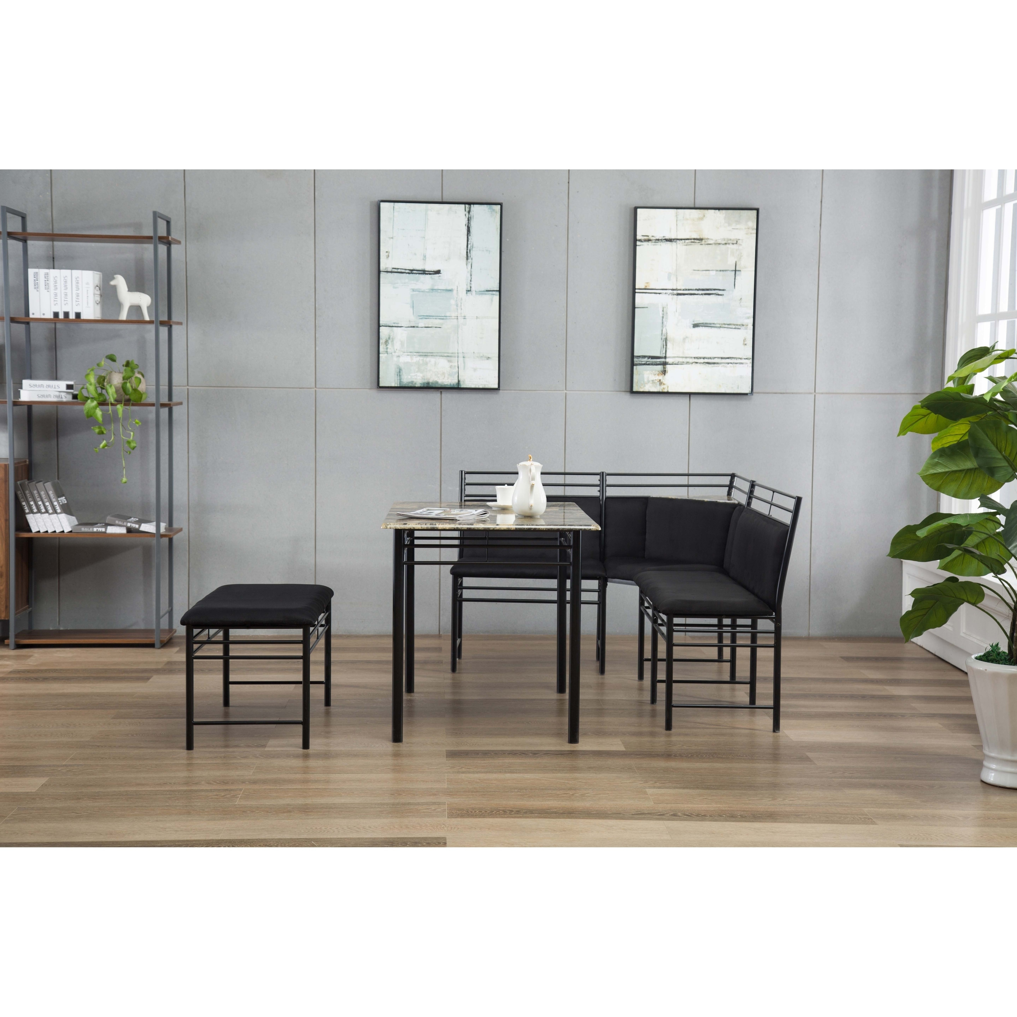 Shop Gareth Black Upholstered Metal Breakfast Nook Set   On Sale   Free  Shipping Today   Overstock.com   19561245