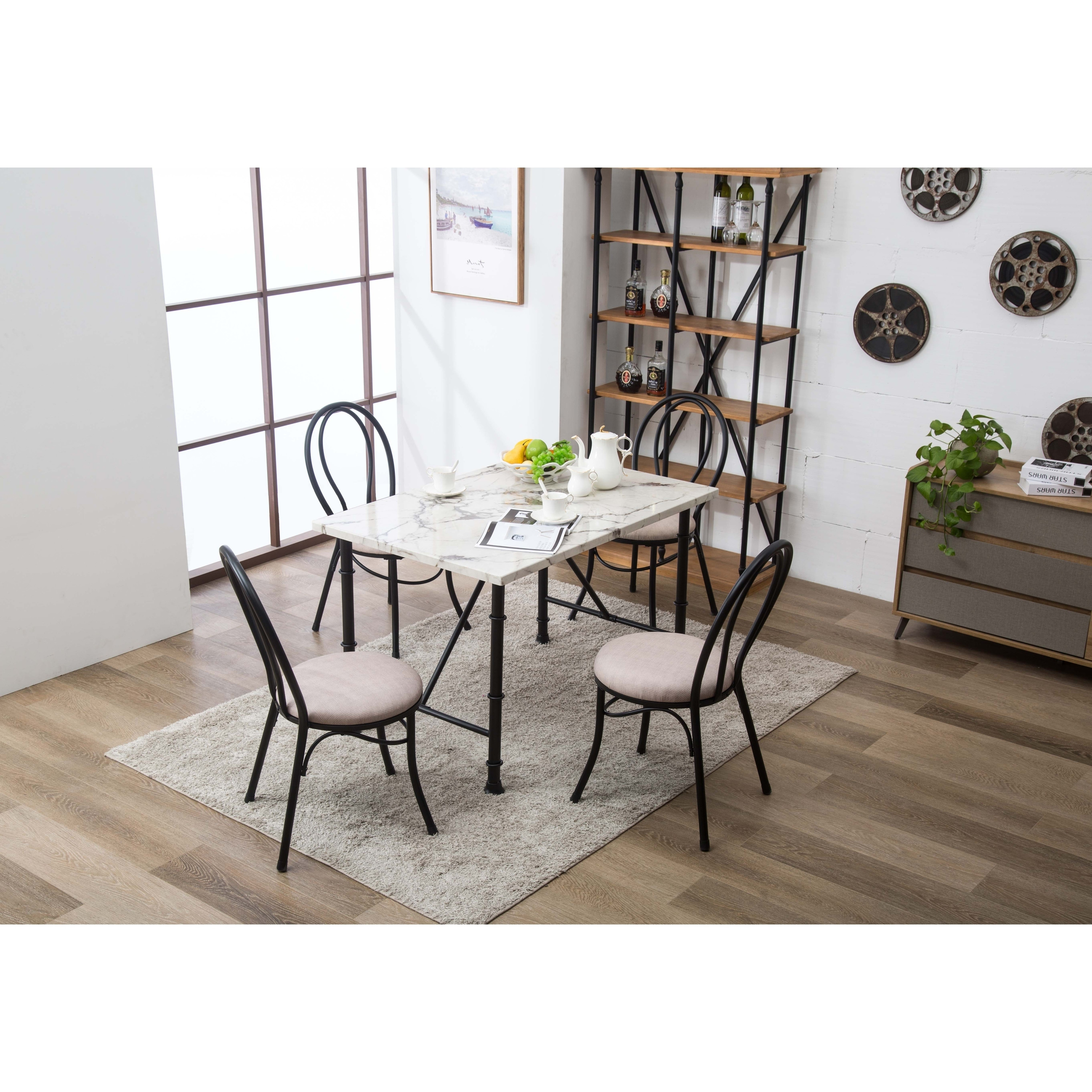 Shop Anders Contemporary Faux Marble Metal Dining Room Table - Free ...