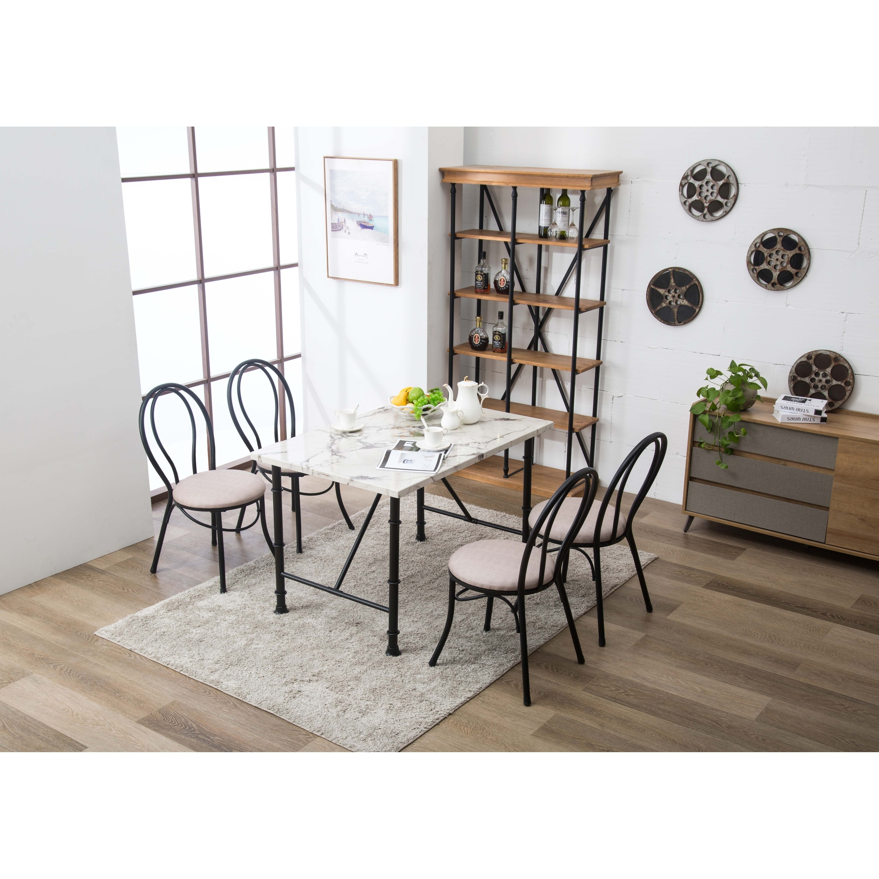 Anders Contemporary Faux Marble Metal Dining Room Table - Free ...