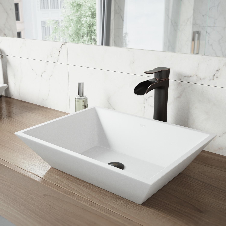 Shop VIGO Vinca Matte Stone Vessel Bathroom Sink Set With Niko ...