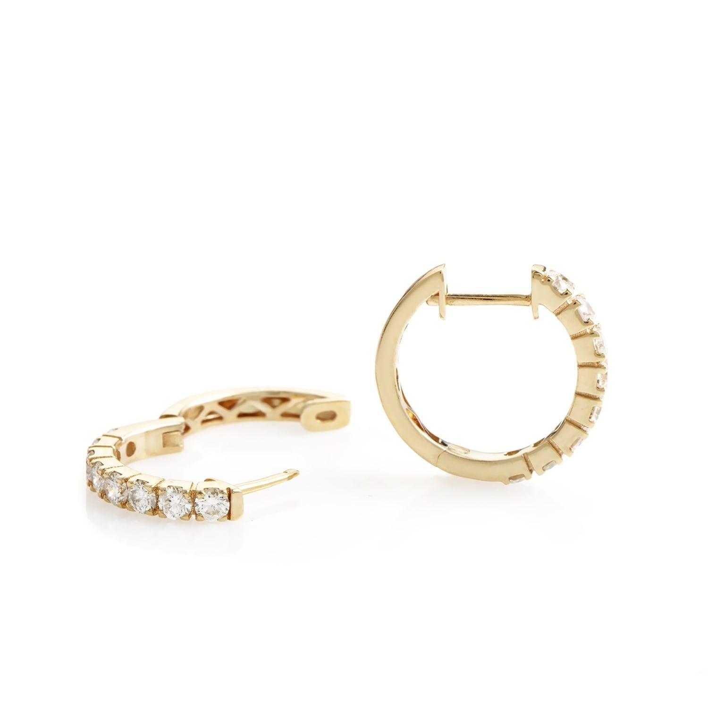 Womens Petite Rose Gold Diamond Hoop Earrings AER 9831R