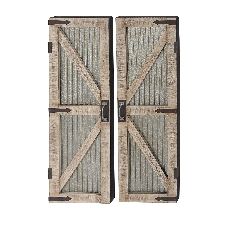 Beau Set Of 2 Farmhouse 47 Inch Iron And Wood Barn Doors By Studio 350