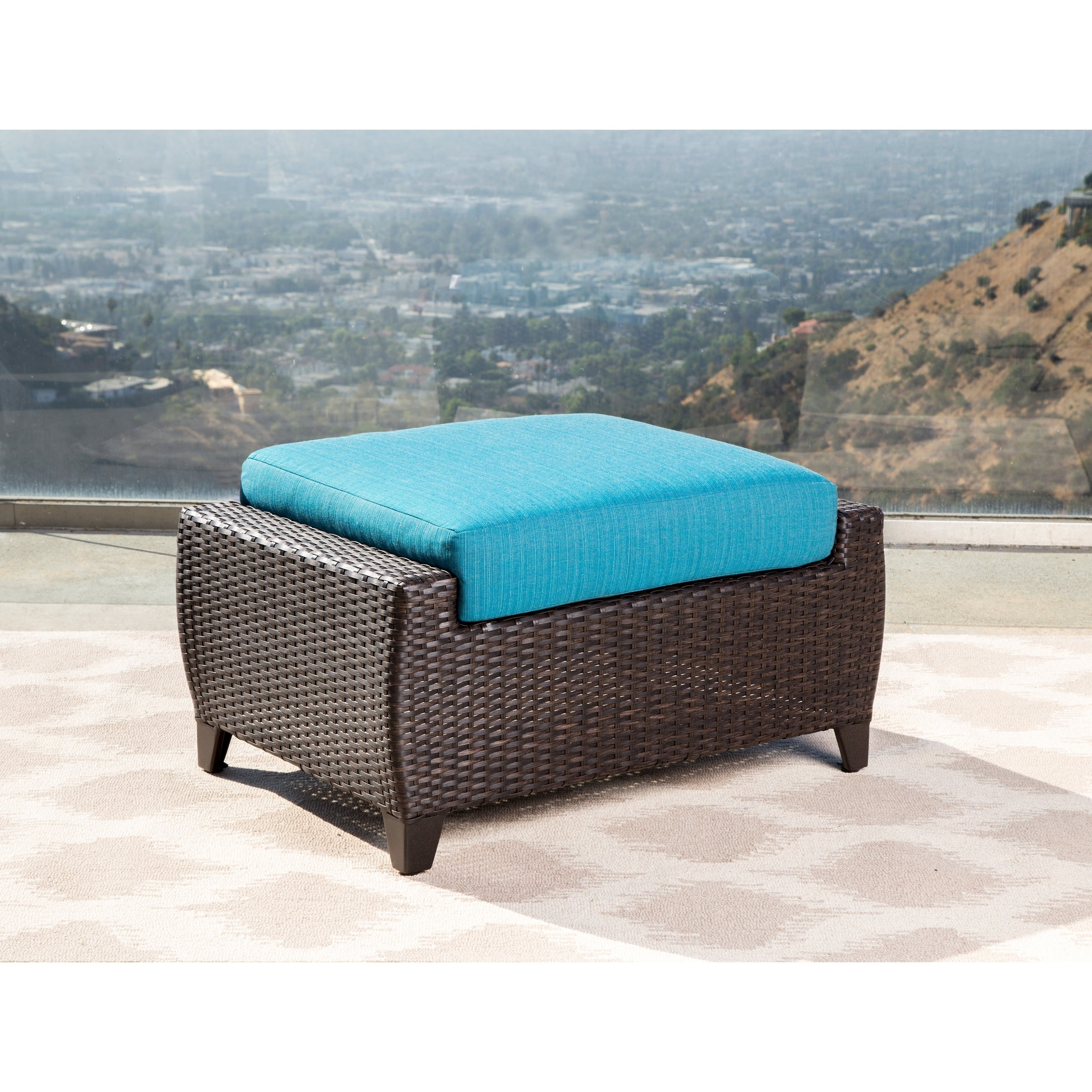 Abbyson Laguna Sunbrella Outdoor Wicker Chair And Ottoman Patio Set   Free  Shipping Today   Overstock   25549985