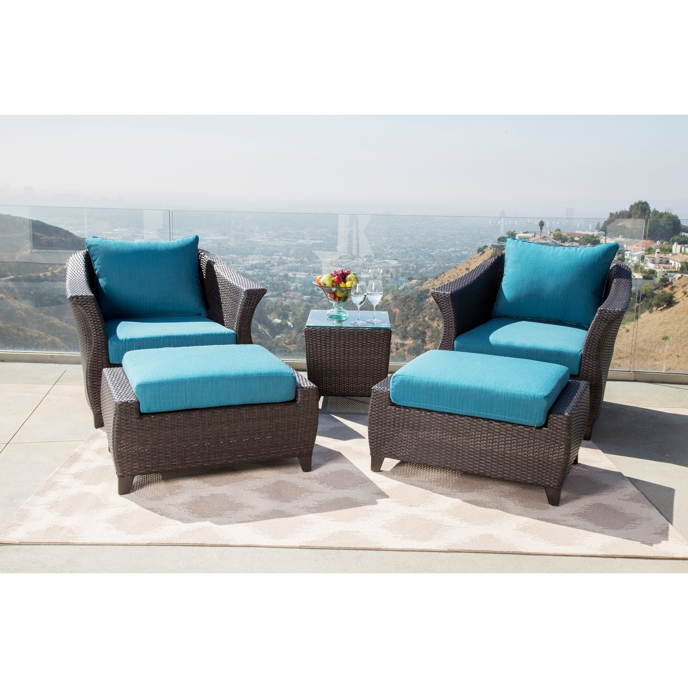 Abbyson Laguna Sunbrella Outdoor Wicker 5 Piece Patio Chair Set