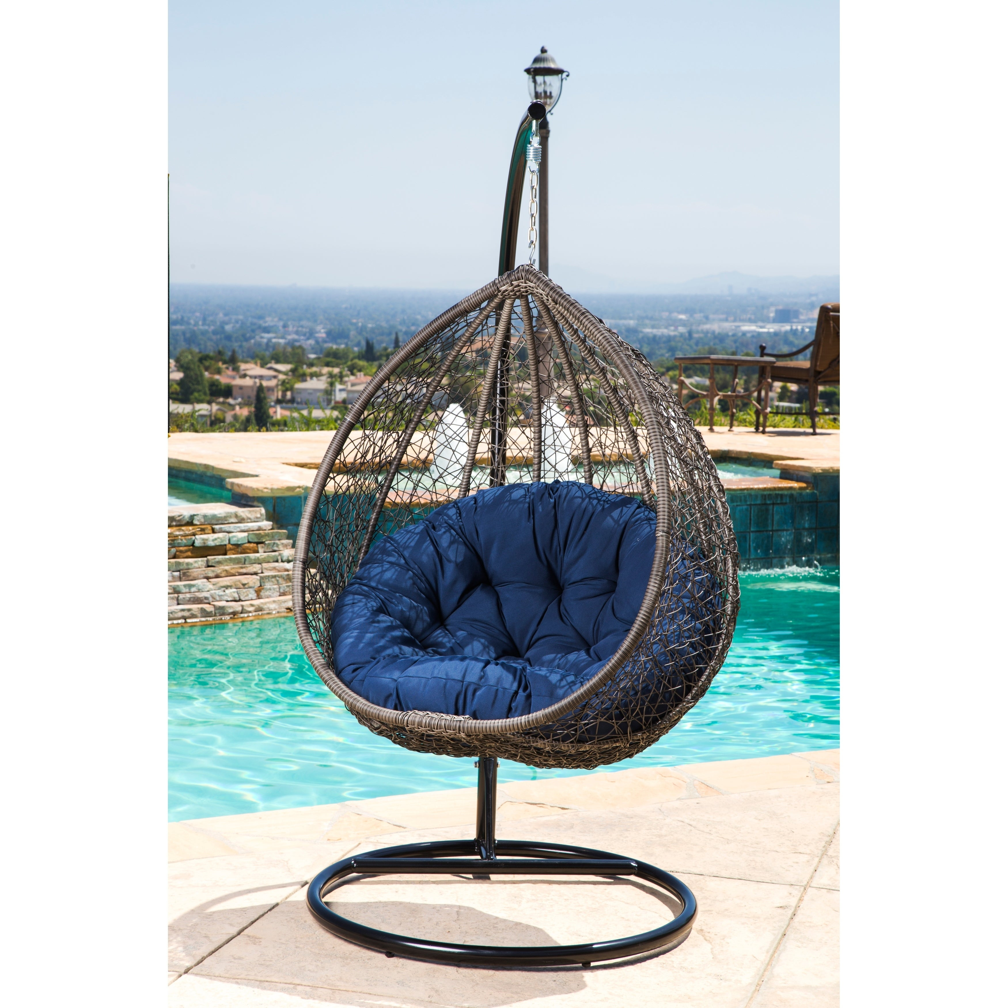 abbyson swing home on garden today stand outdoor newport navy wicker overstock free product chair patio shipping
