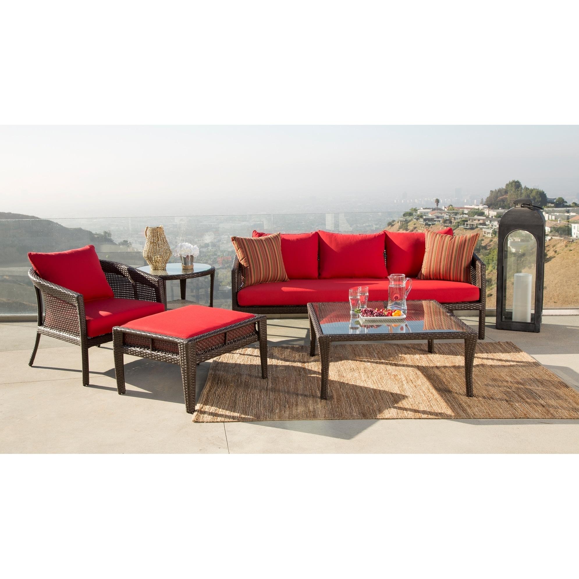 Abbyson santorini sunbrella red outdoor wicker 5 piece patio set