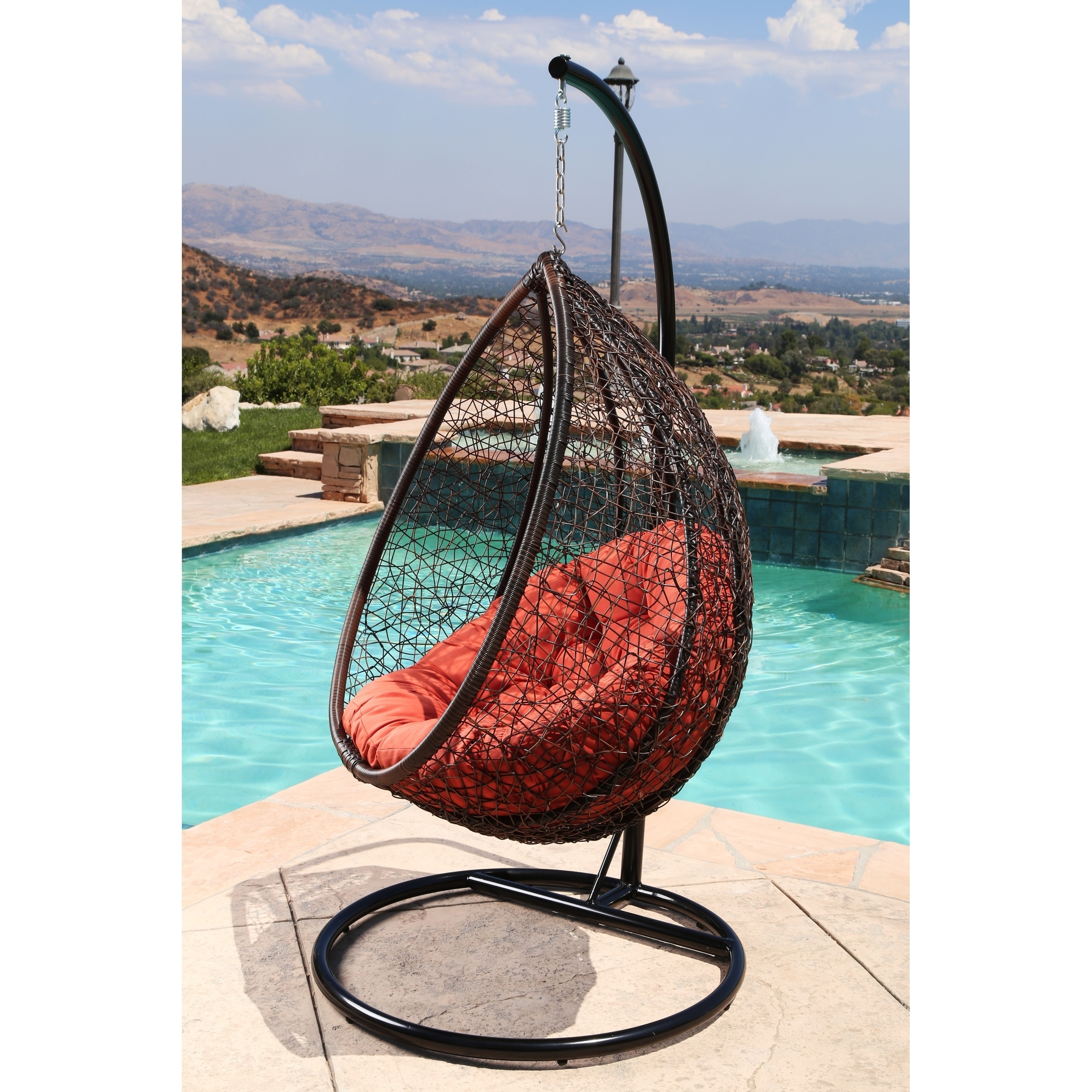 Perfect Shop Abbyson Newport Outdoor Wicker Patio Swing Chair   On Sale   Free  Shipping Today   Overstock.com   19564300
