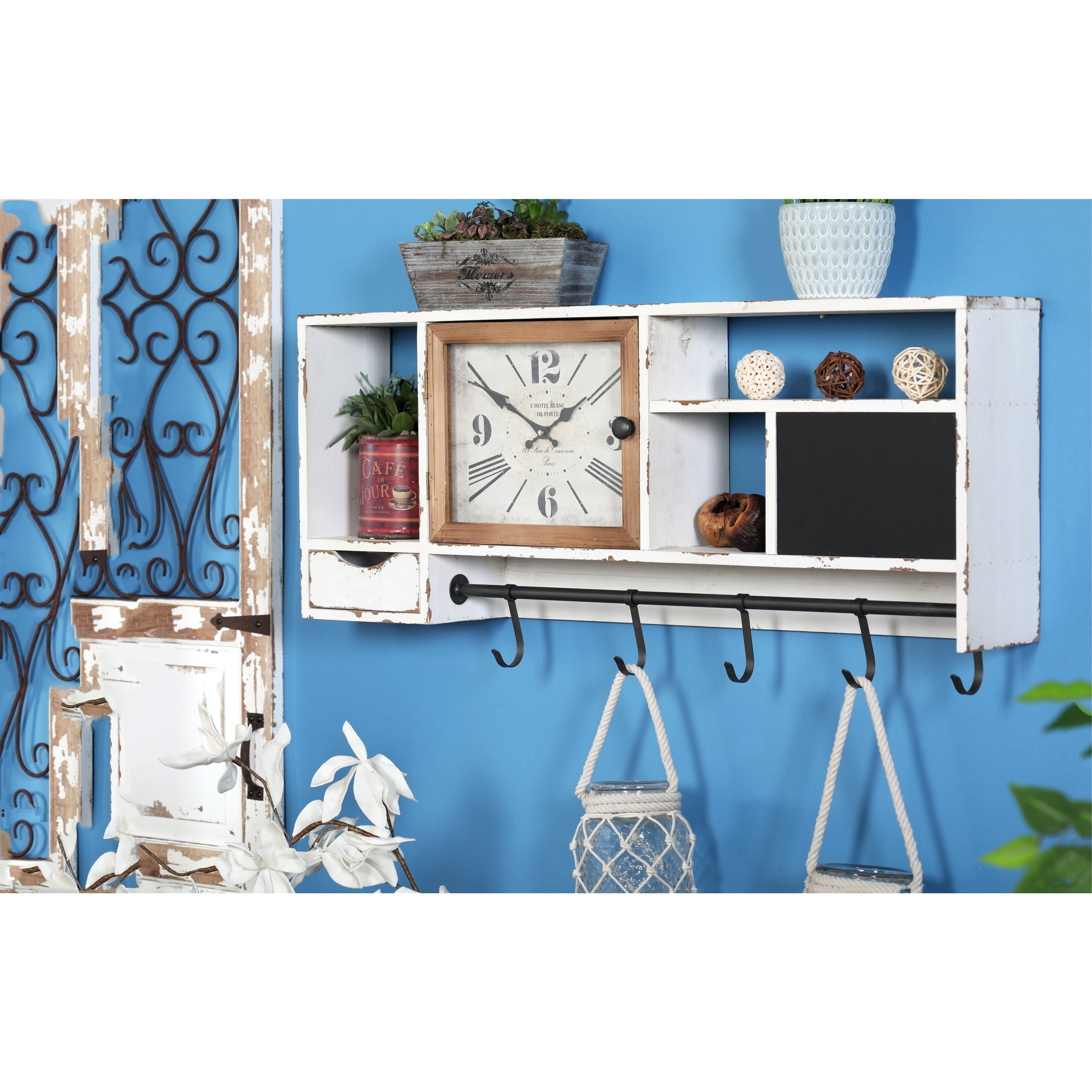 Shop Rustic Wall Clock with Multi-Purpose Shelves and Hooks - On ...