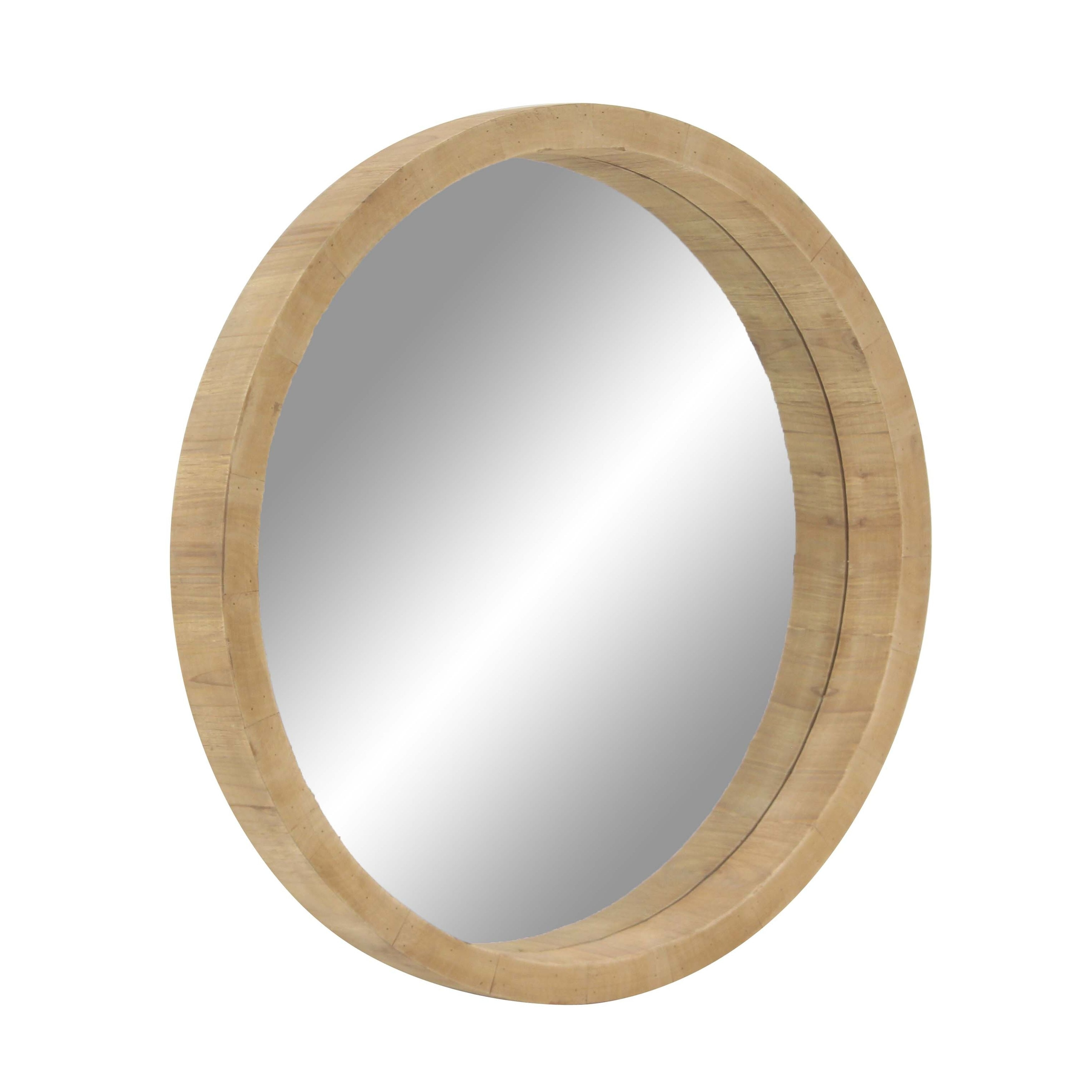 32 Inch Rustic Wooden Round Wall Mirror Brown Free Shipping Today 19565797