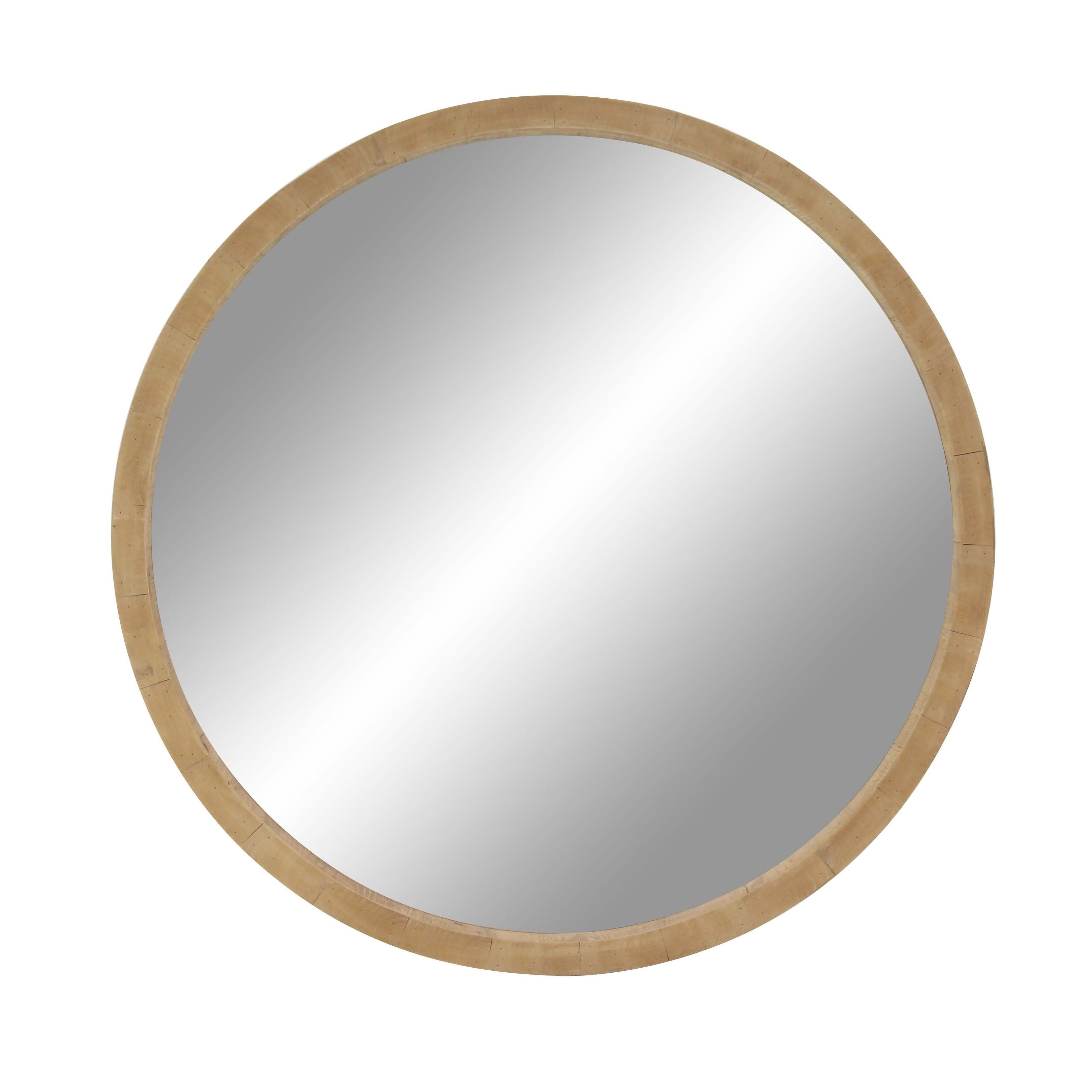 Shop Rustic 40 Inch Round Brown Wooden Framed Wall Mirror By Studio