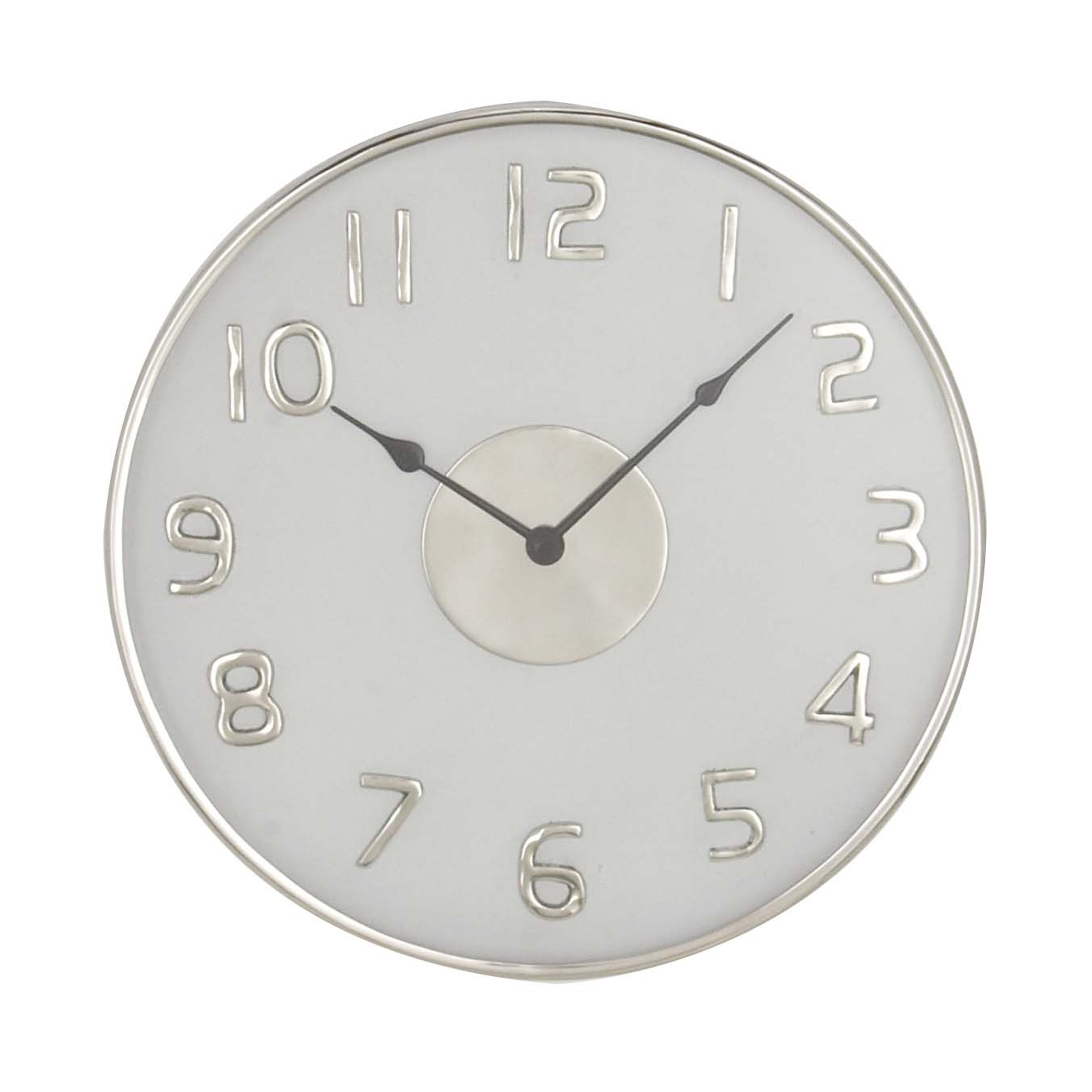 Shop 18 Inch Modern Round White Stainless Steel Wall Clock On Sale
