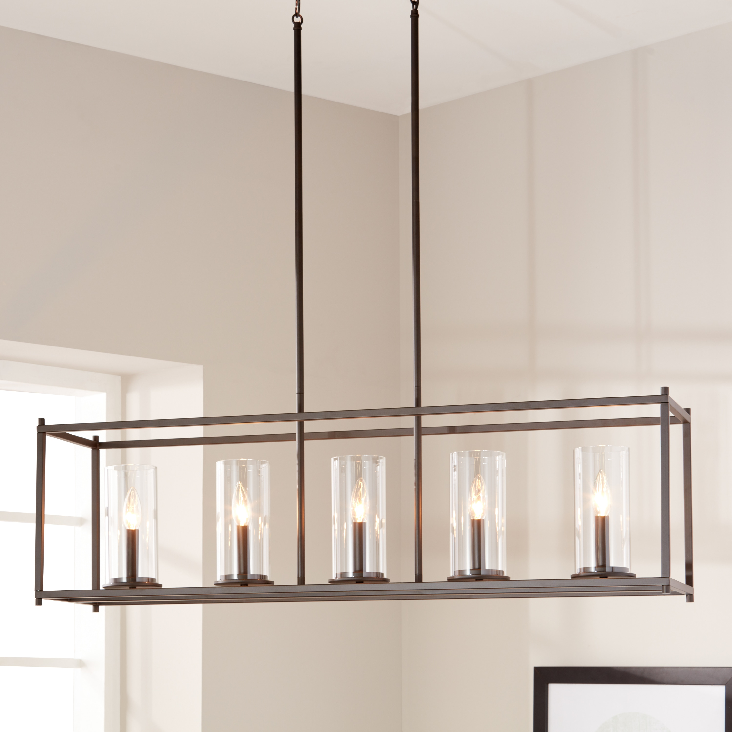 crosby collection large pendant light. Kichler Lighting Crosby Collection Olde Bronze Steel 5-light Linear Chandelier With Clear Glass Cylindrical Shades - Free Shipping Today Overstock Large Pendant Light