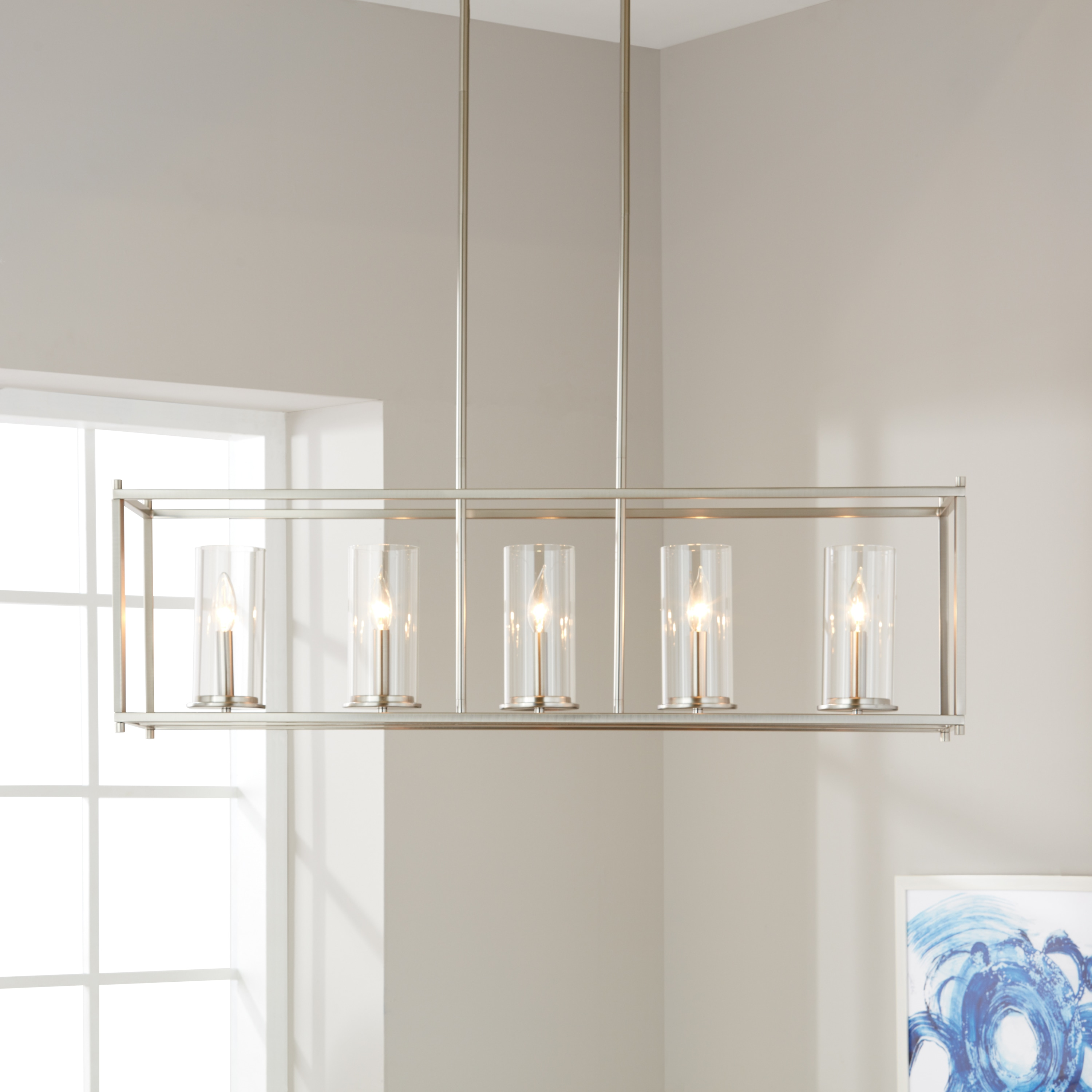 crosby collection large pendant light. Contemporary Collection Shop Kichler Lighting Crosby Collection 5light Brushed Nickel Linear  Chandelier  Free Shipping Today Overstockcom 19568285 On Large Pendant Light