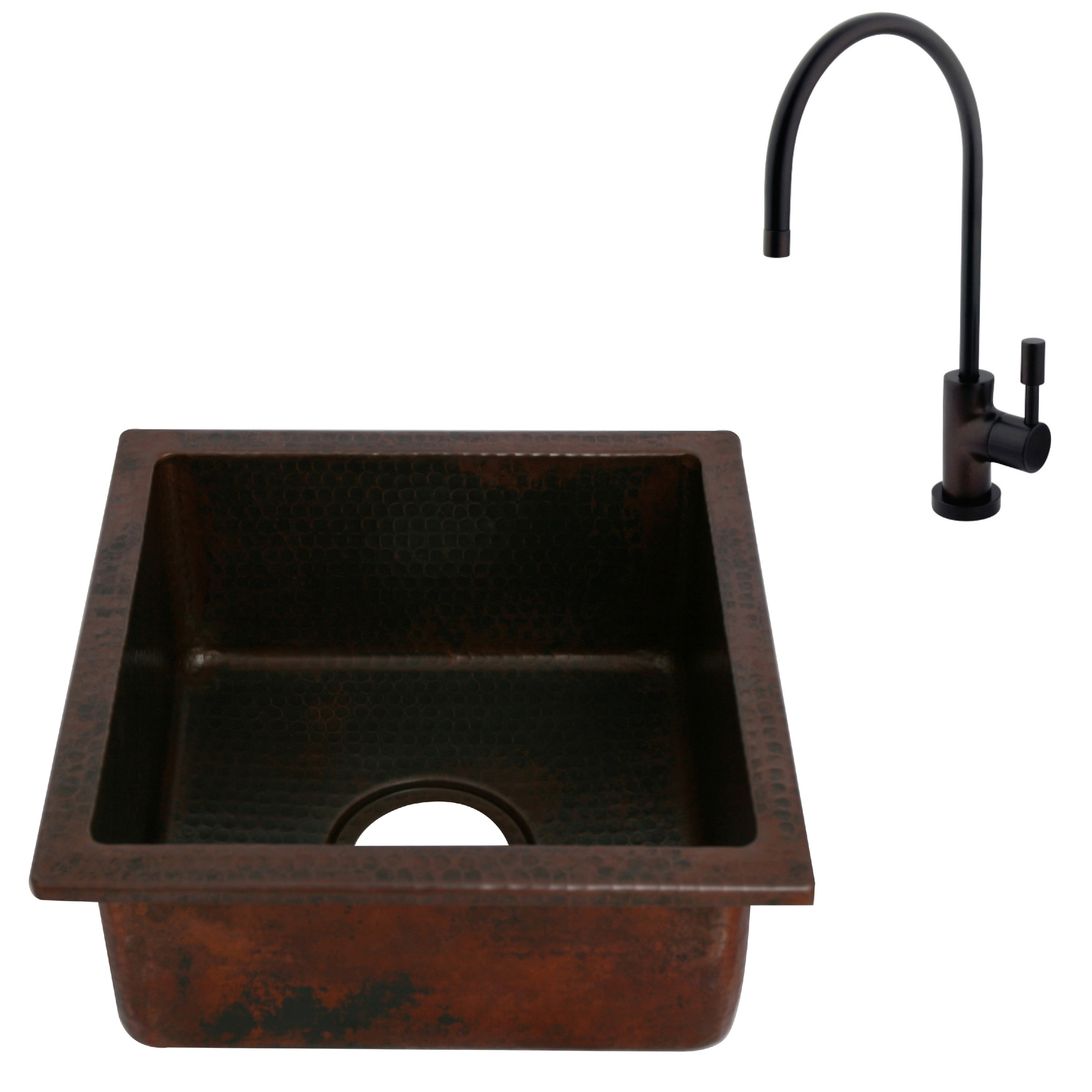 Unikwities 14X14X6.5 inch Square Drop In Copper Sink with Bar Faucet ...