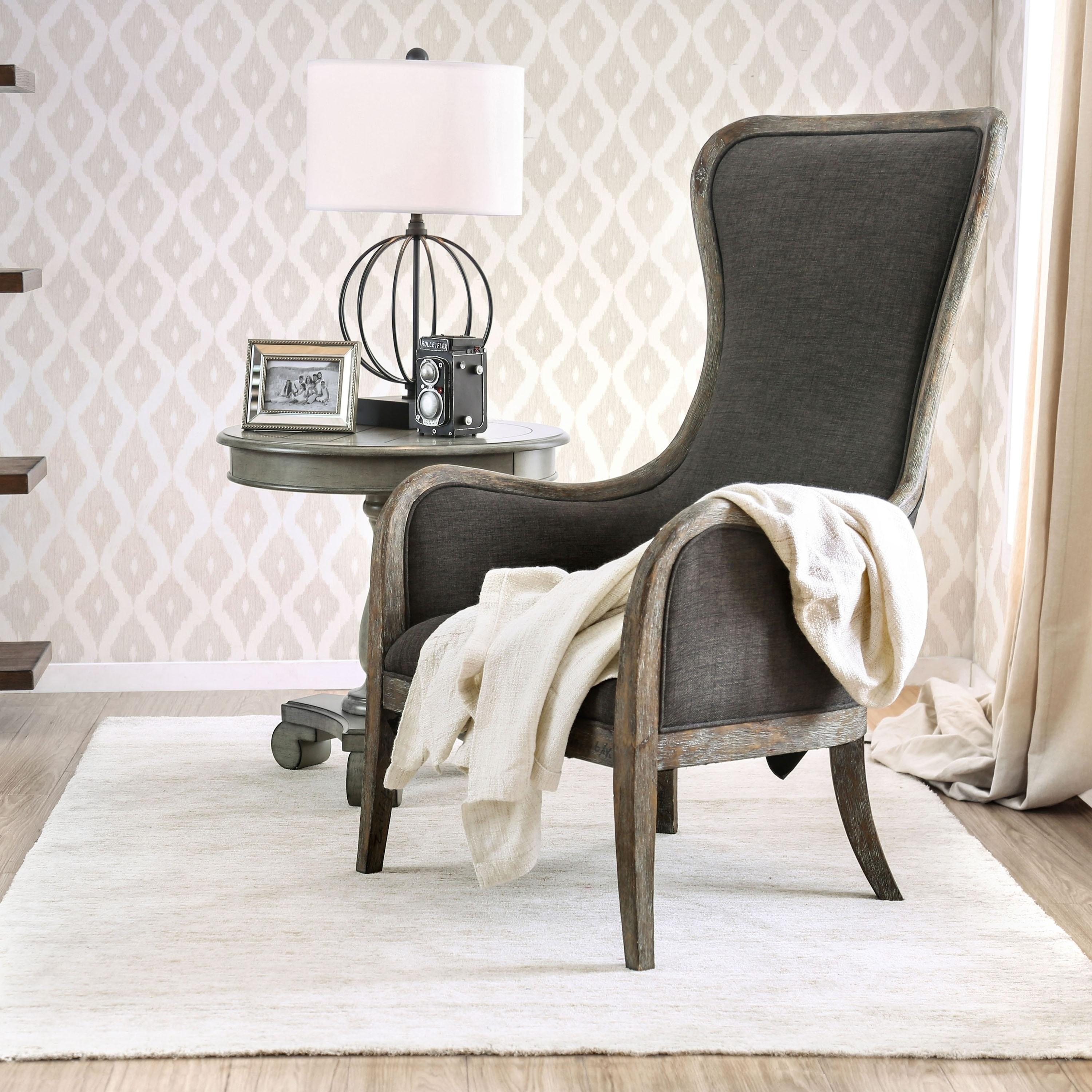 Accent Chairs Wingback.Lysa Shabby Chic Grey Wingback Accent Chair By Foa