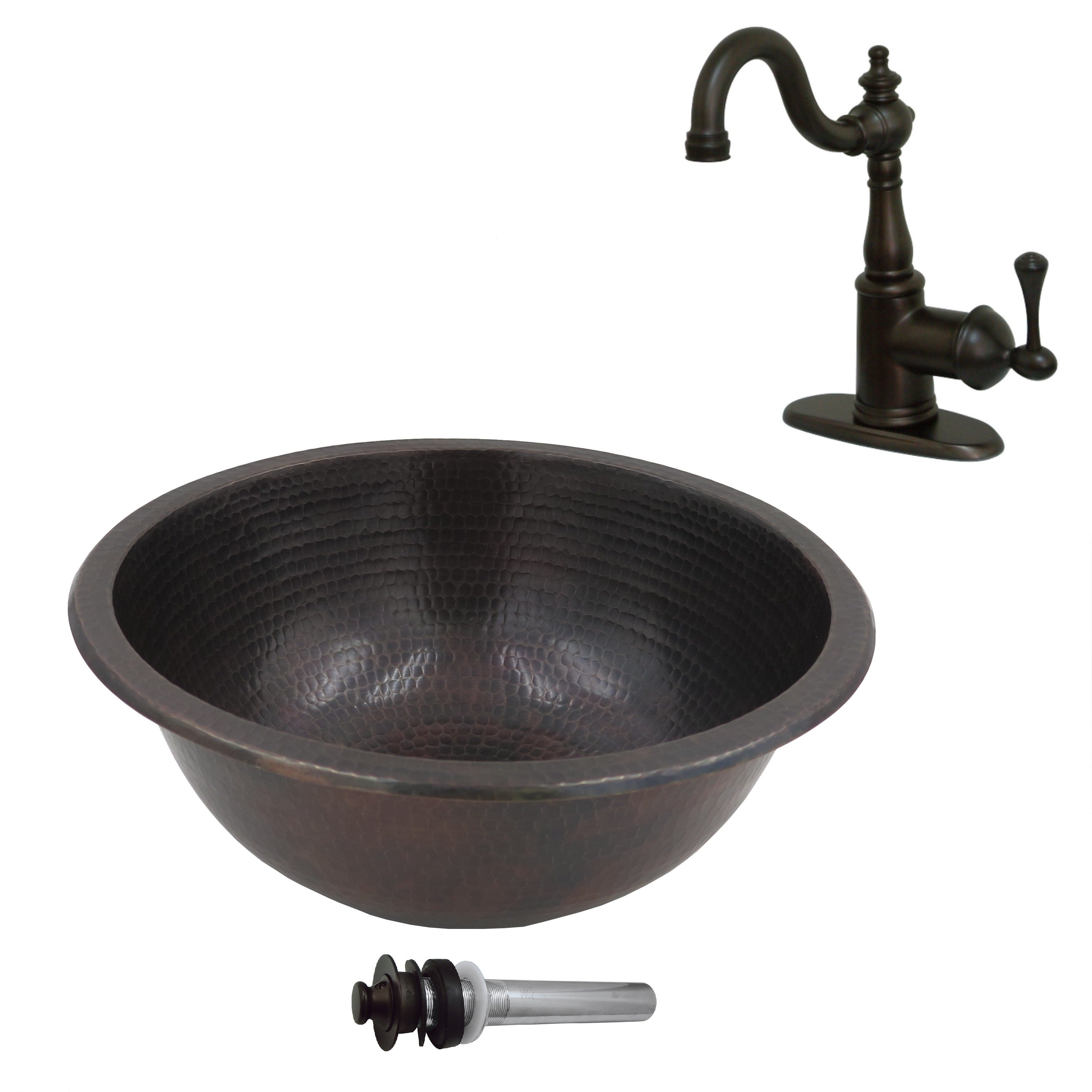 Shop Unikwities 13.5X5 Copper Sink with Centerset Faucet and Drain ...