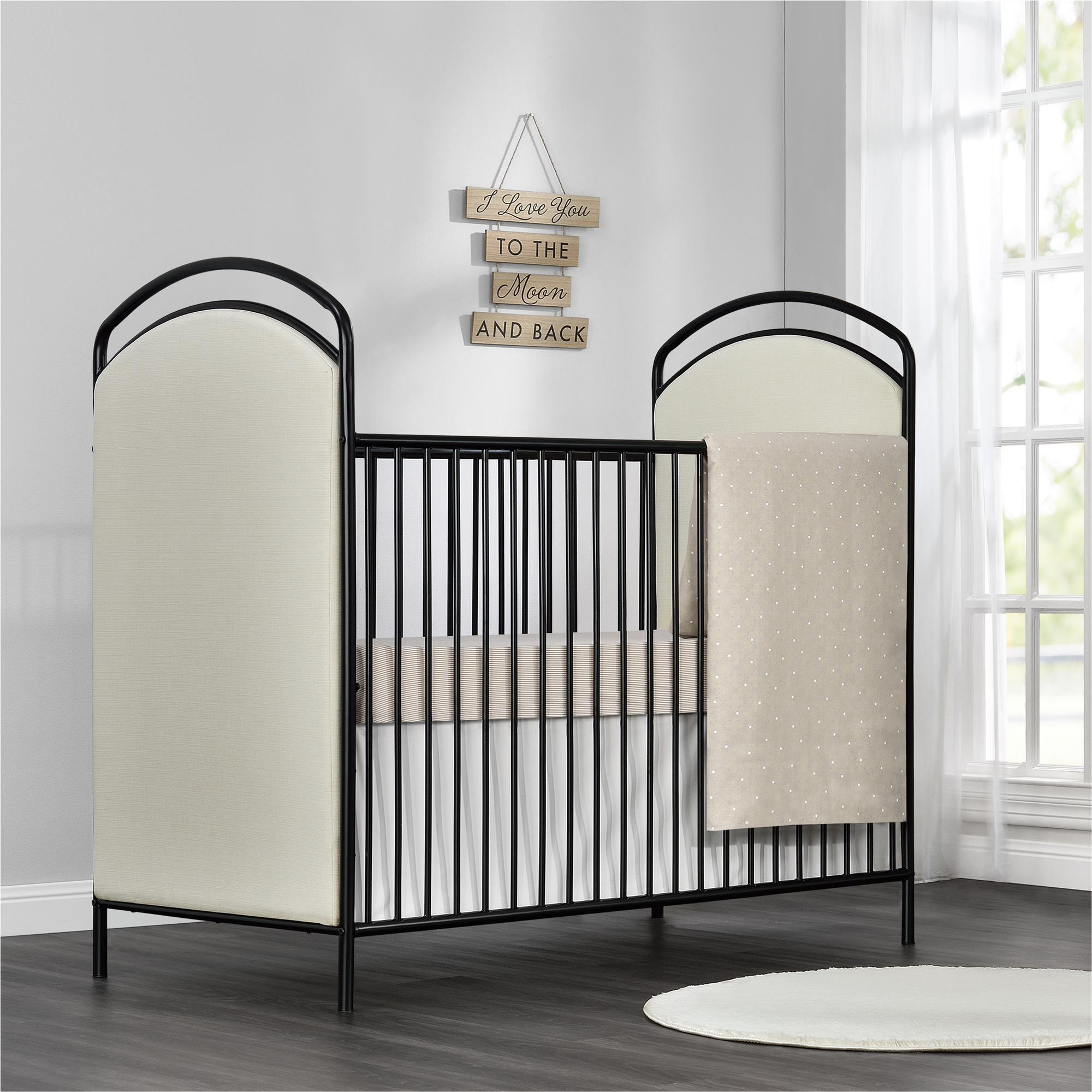 Little Seeds Rowan Valley Black Lotus Upholstered Metal Crib - Free ...
