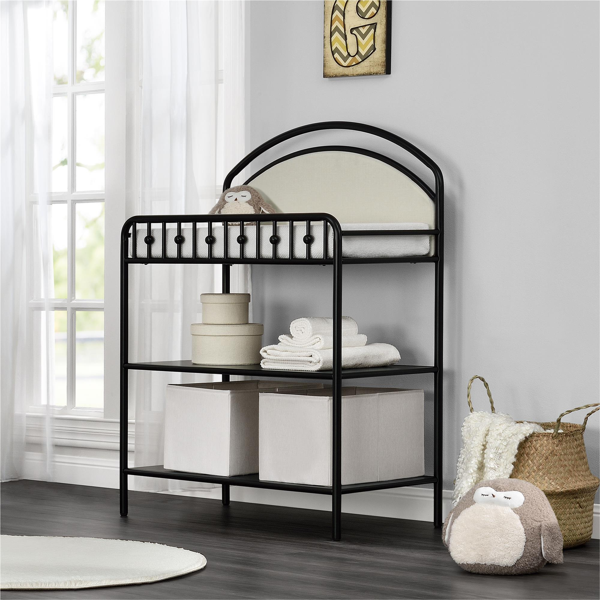 Awesome Shop Little Seeds Rowan Valley Black Lotus Upholstered Metal Changing Table    Free Shipping Today   Overstock.com   19569701