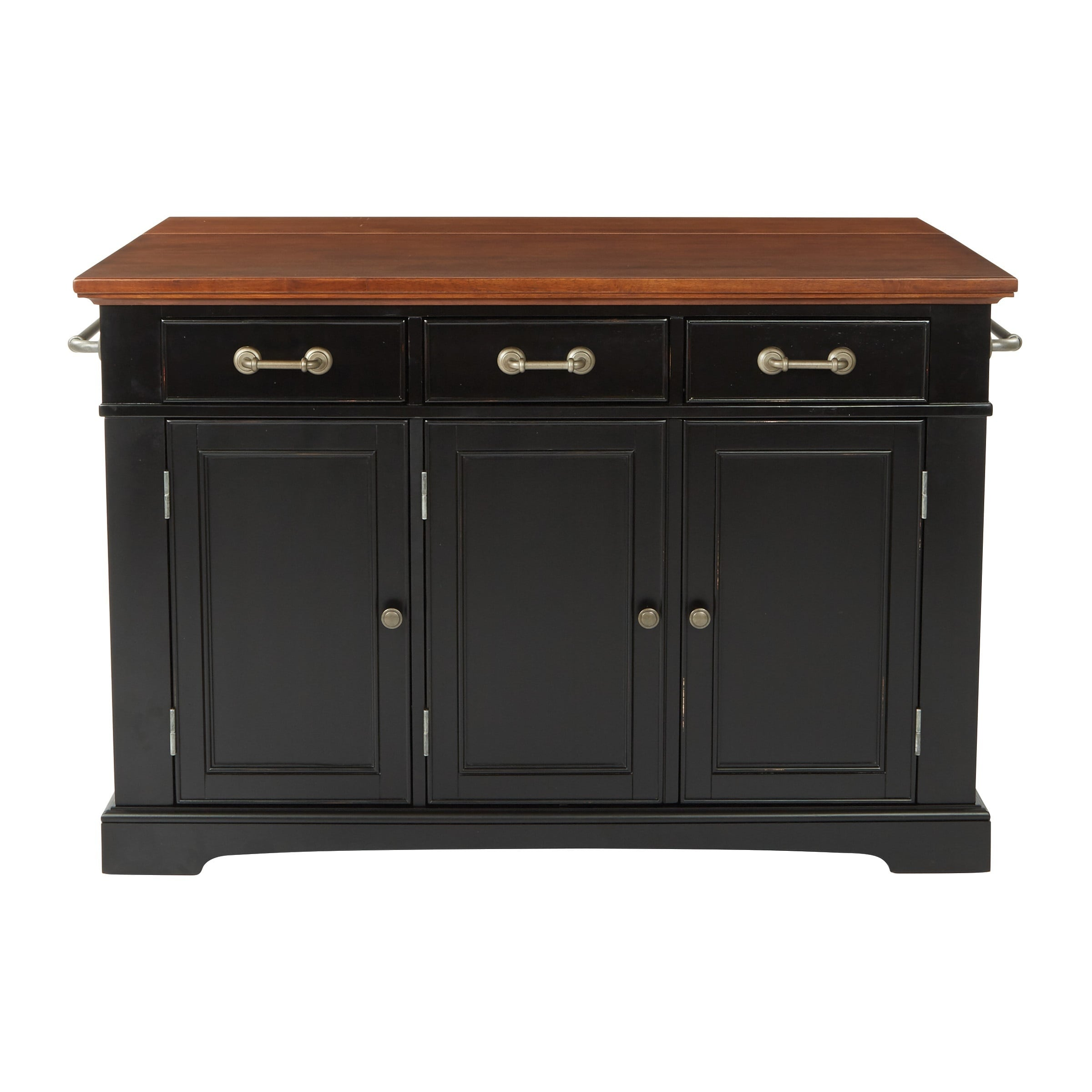 Shop osp home furnishings country kitchen large kitchen island in black distressed finish with vintage oak top free shipping today overstock com