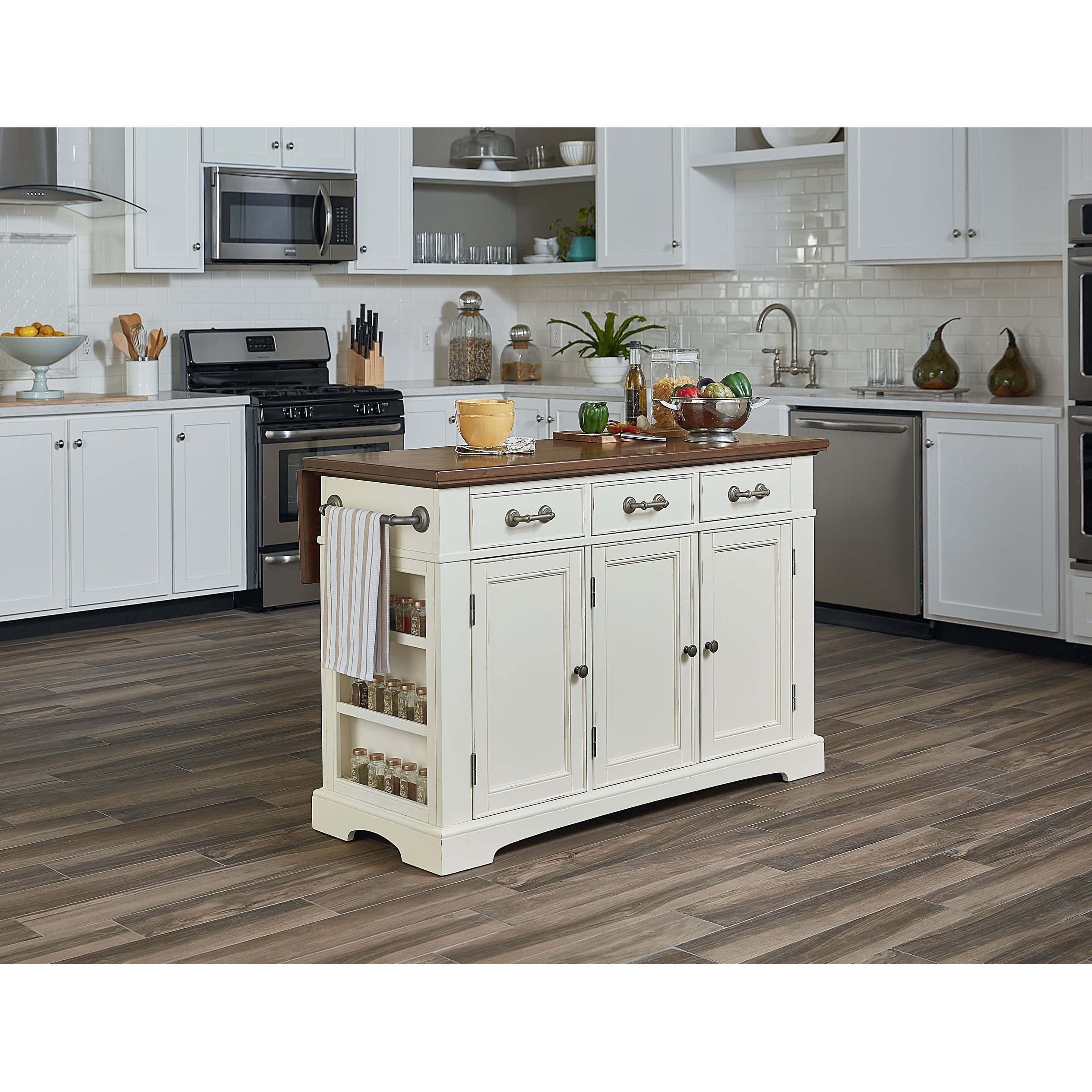 Shop inspired by bassett country kitchen large kitchen island with white finish and vintage oak top free shipping today overstock com 19571180