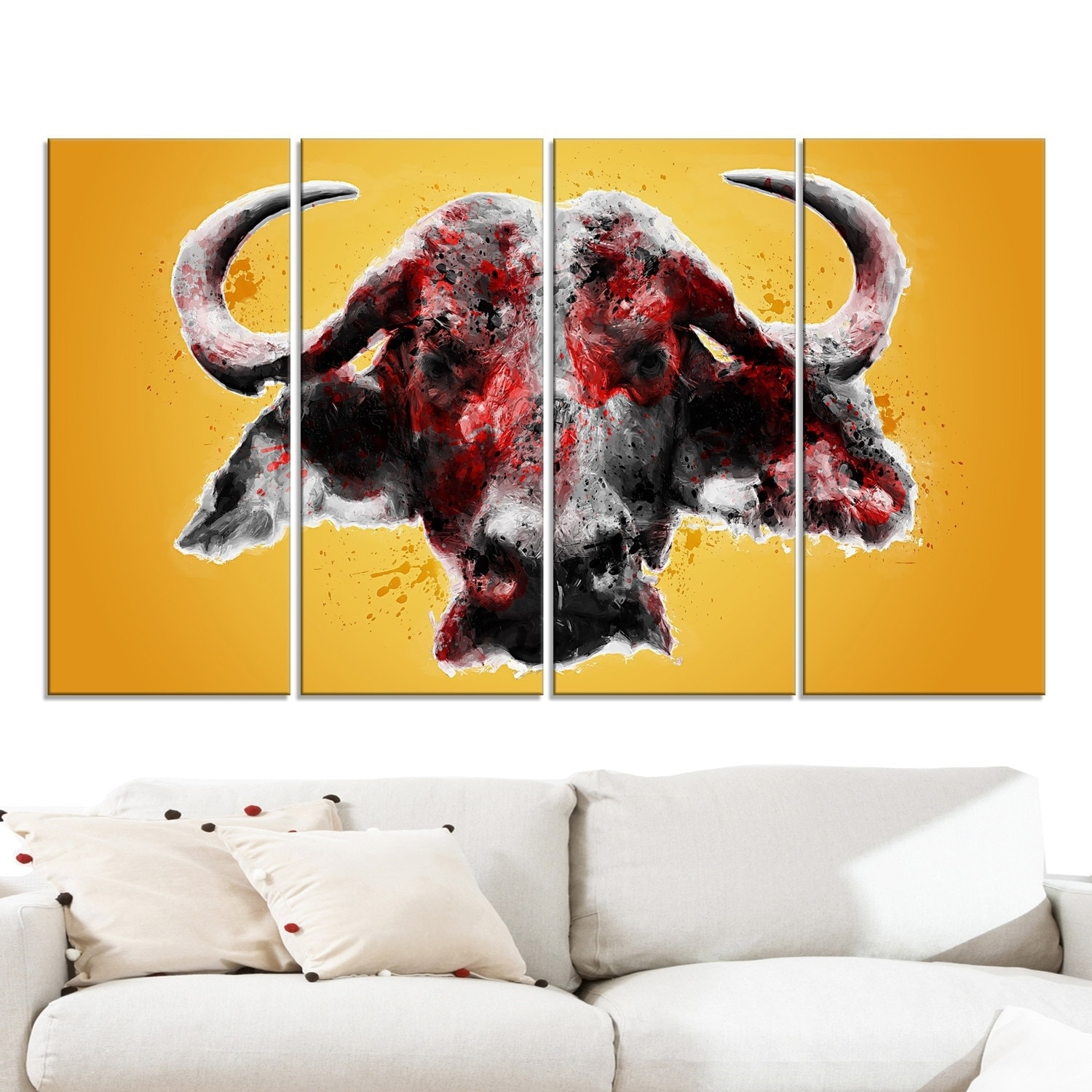 Design Art \'Angry Bull\' Canvas Art Print - 60Wx32H Inches - 5 Panels ...