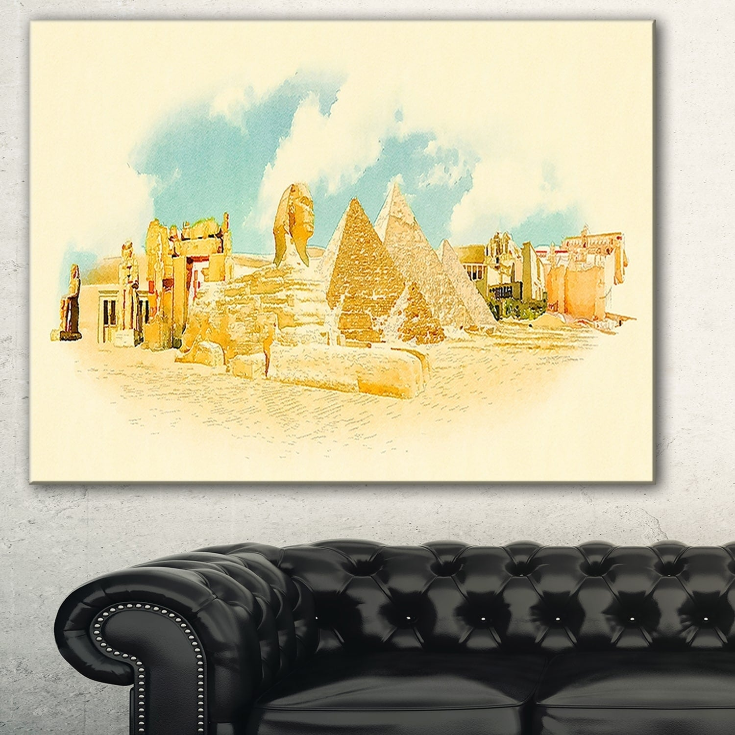 Cairo Panoramic View\' Cityscape Watercolor Canvas Print - Free ...