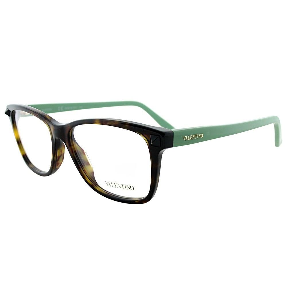 Shop Valentino Rectangle V2694 248 Women Dark Havana Green Frame ...