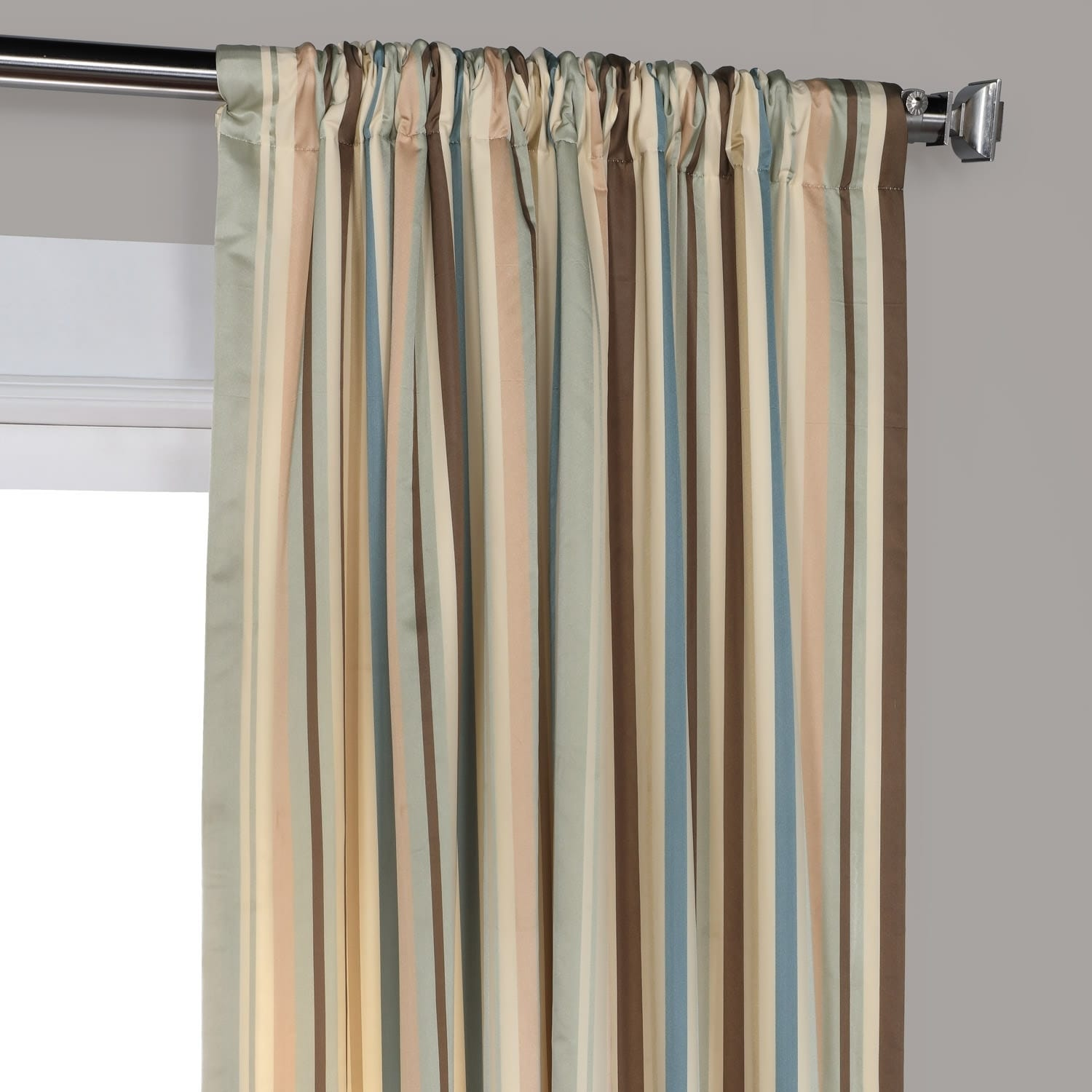 Exclusive Fabrics Woodcroft Luxury Faux Silk Stripe Curtain  Free