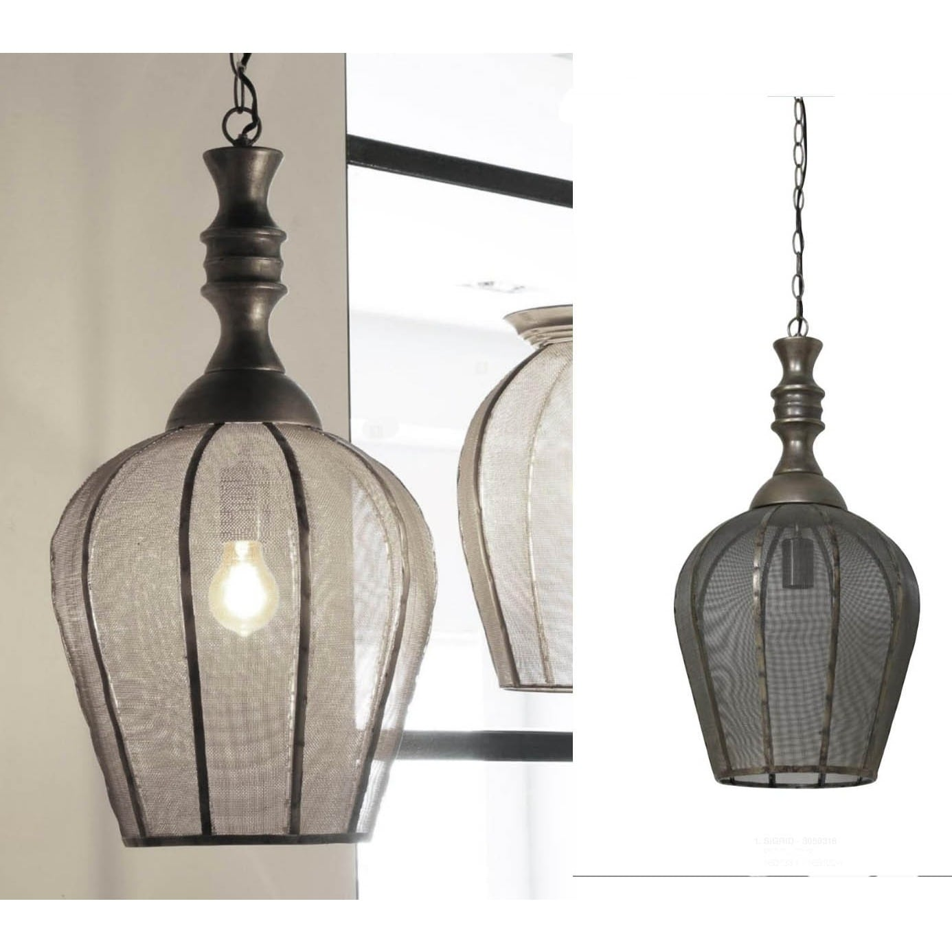 Urban Designs Antique Gold Bronze Hanging Mesh Lamp