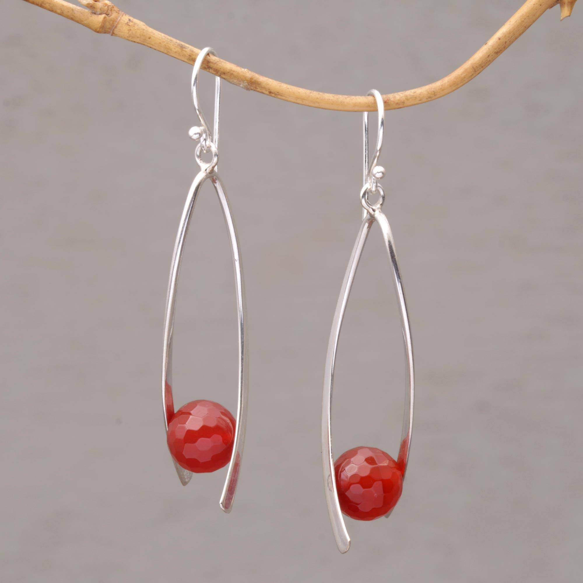 sterling silver earrings dangle cabochon agate carnelian oval product