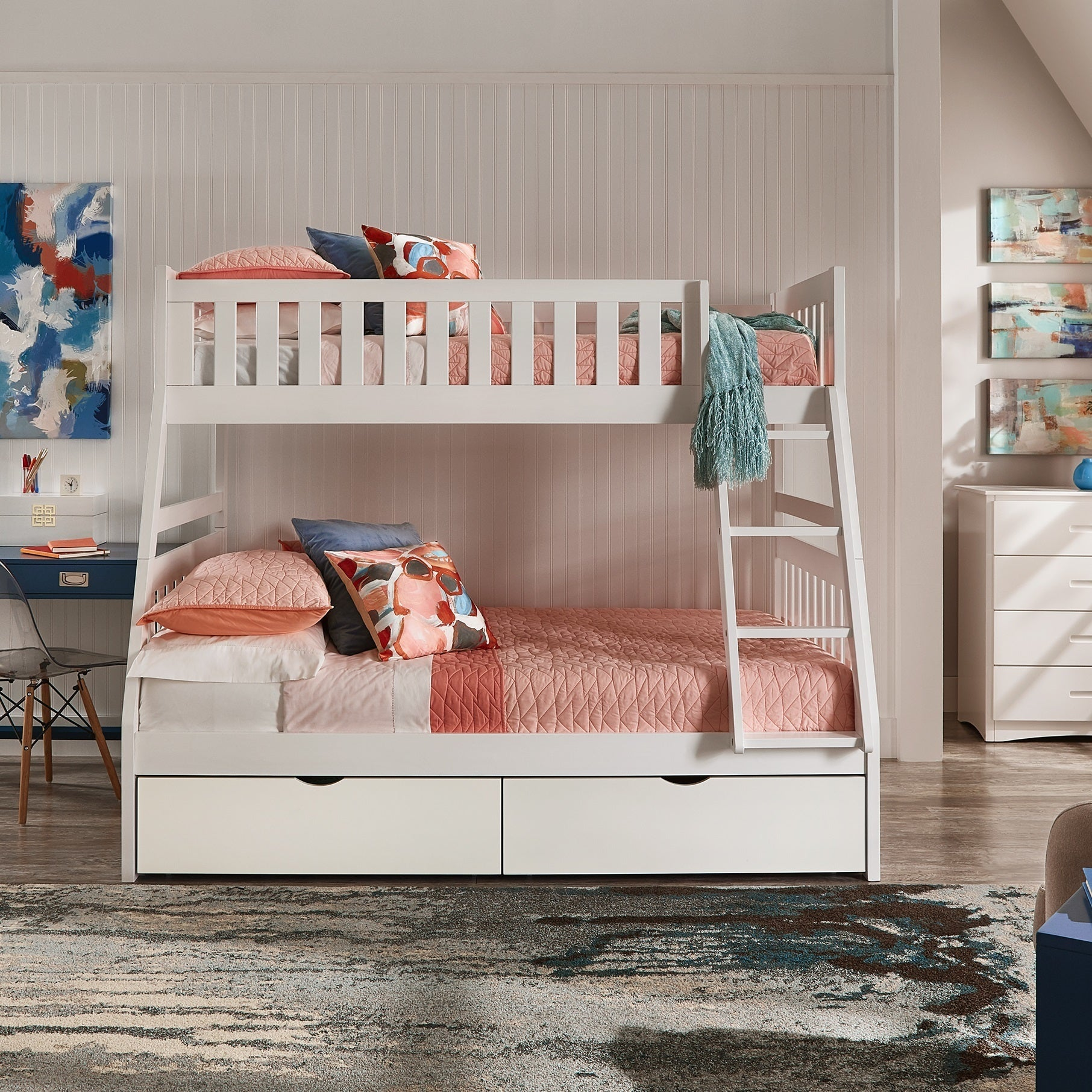 Hunter Twin over Full White Wood Bunk Bed by iNSPIRE Q Junior - Free  Shipping Today - Overstock.com - 25561318