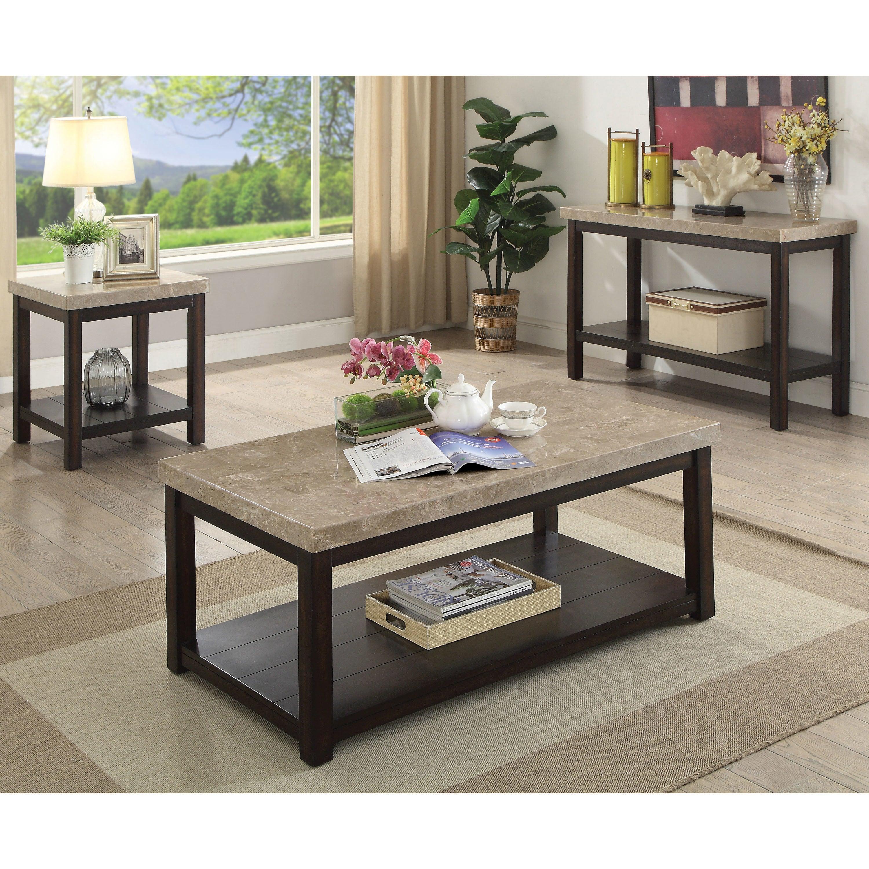 Furniture Of America Della Transitional Dark Walnut Marble Coffee  ~ Transitional Sofa Tables
