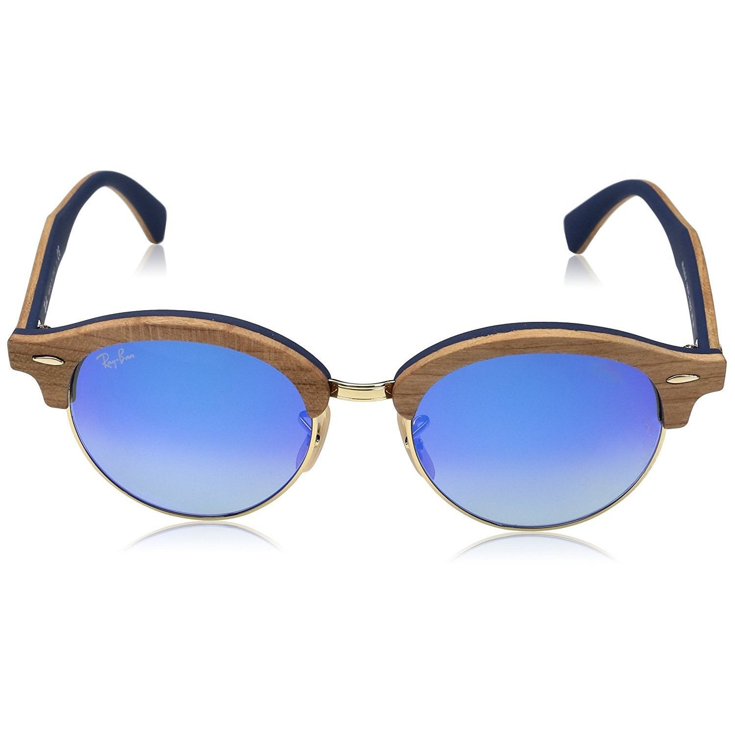 987a79435cfd1 Shop RayBan Clubround Wood Sunglasses - Tan - Medium - Free Shipping Today  - Overstock - 19577419
