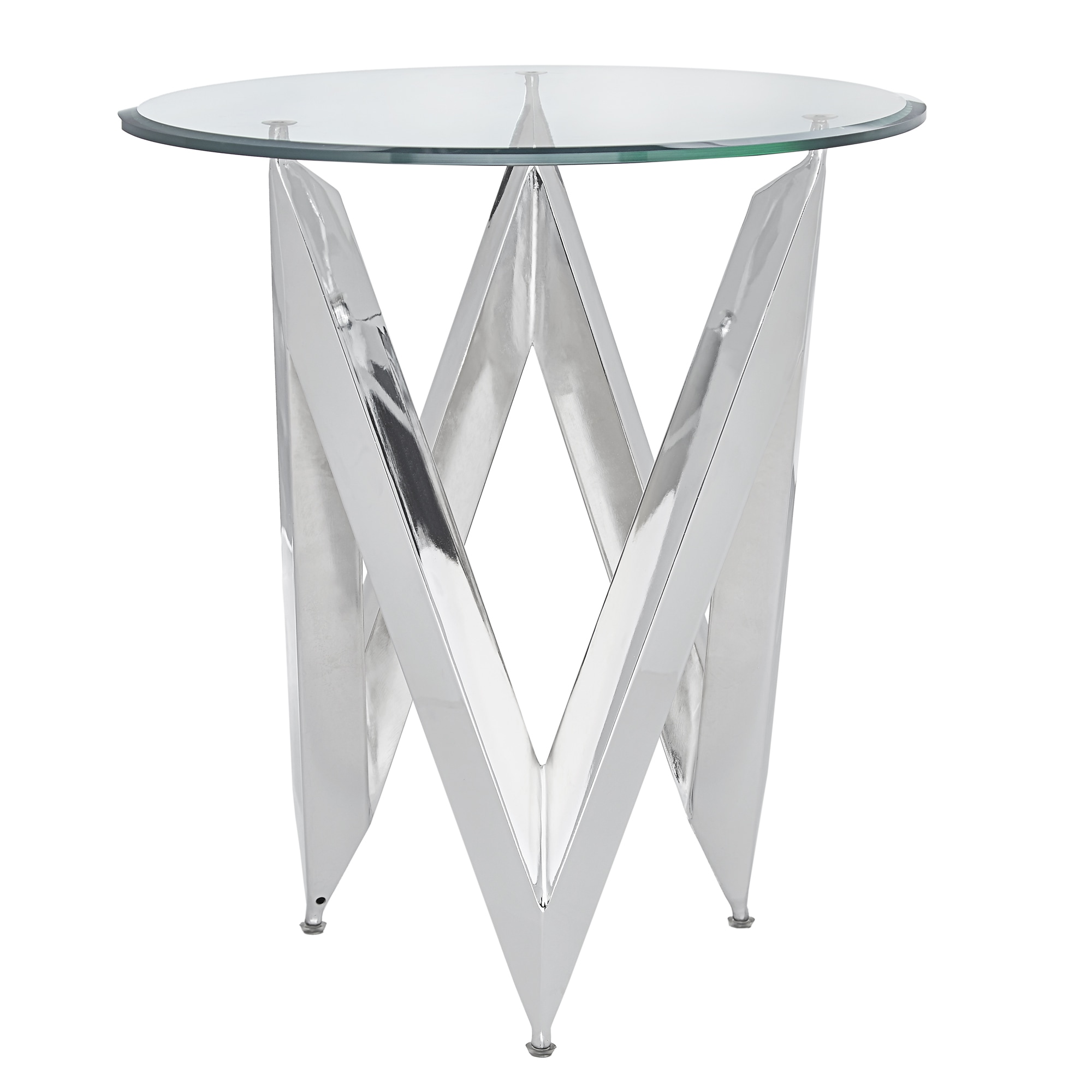 Shop Marlin Angular Chrome And Glass End Table By INSPIRE Q Bold   On Sale    Free Shipping Today   Overstock.com   19577664