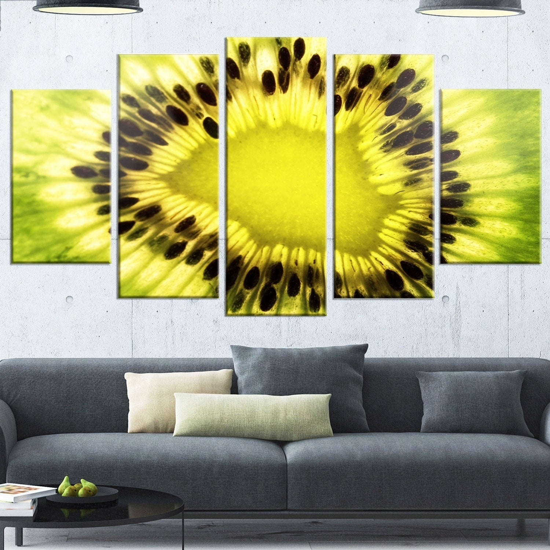 Shop Designart \'Green Kiwi Seeds and Inside Pattern\' Modern Metal ...