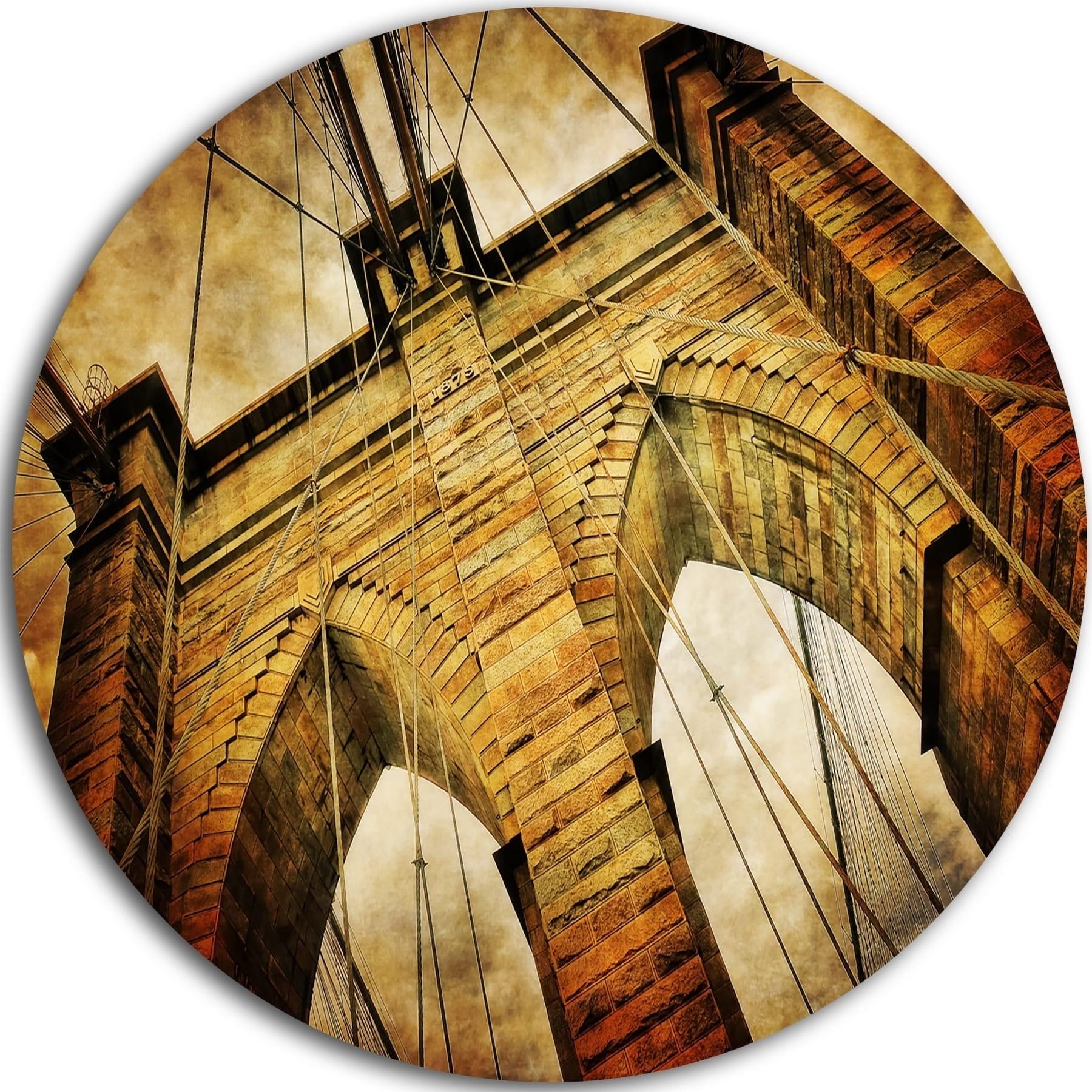 Shop Designart \'Vintage Brooklyn Bridge\' Contemporary Round Wall Art ...