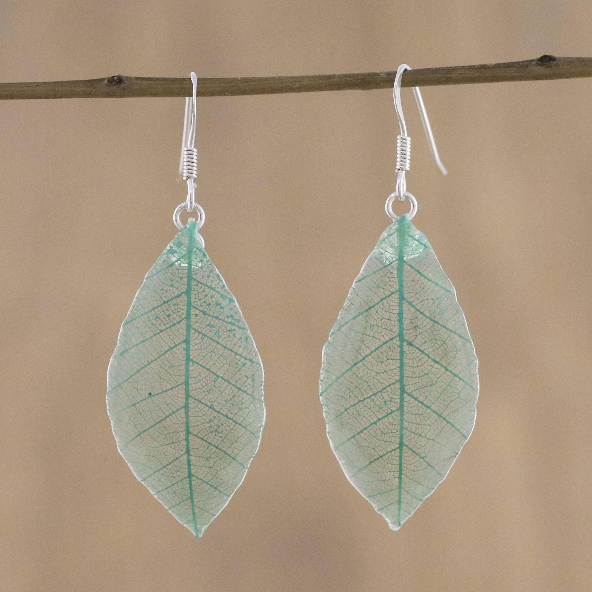 Novica Natural leaf dangle earrings, Stunning Nature in Straw