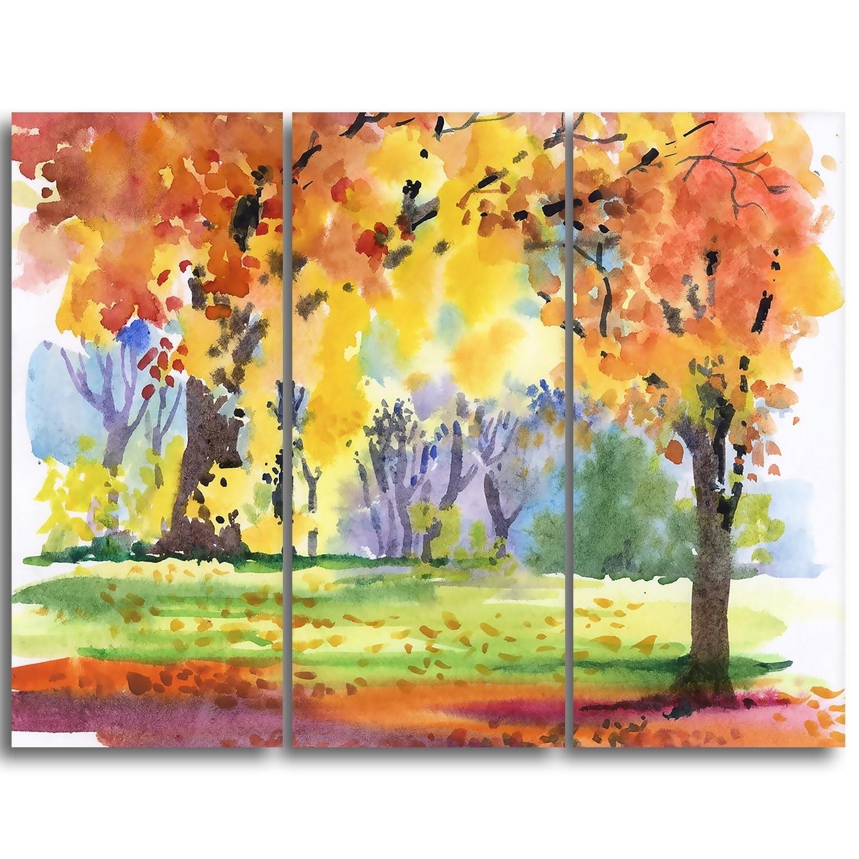 Autumn Park Yellow Trees Watercolor - Landscape Wall Art Canvas ...