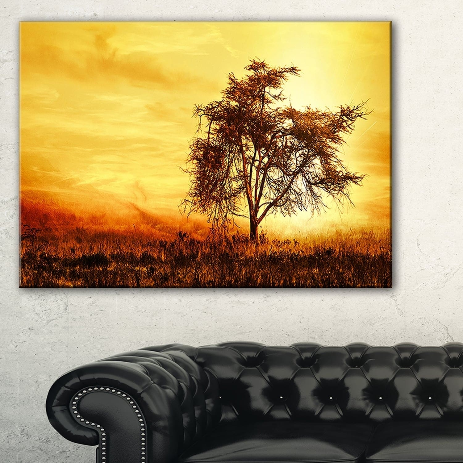 Phase1 African Tree Silhouette - Landscape Photo Glossy Metal Wall ...