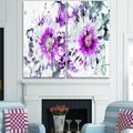Design Art 'Purple and White Daisies' Canvas Art Print - 40Wx40H Inches - 2 Panels