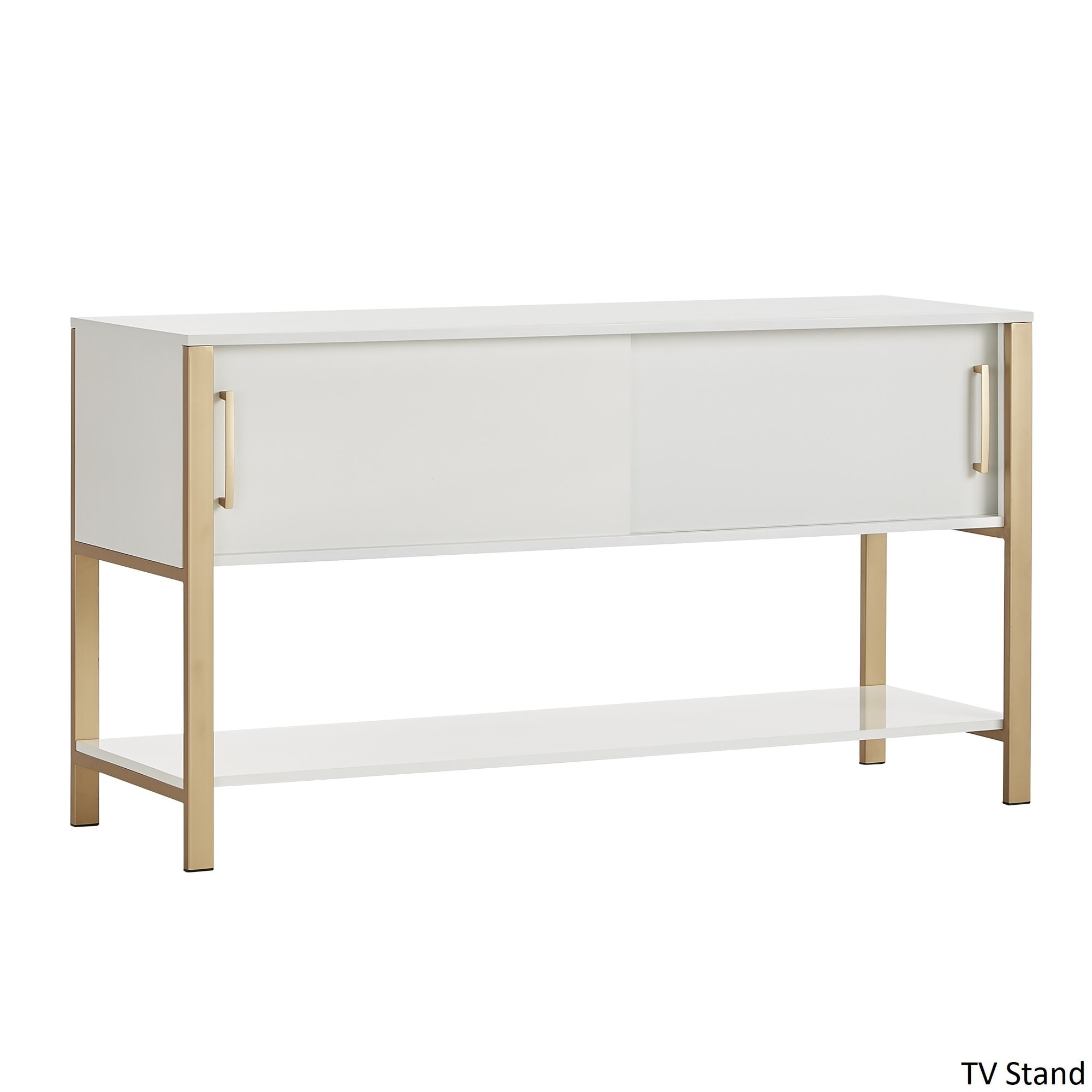 Shop Shiloh Contemporary White And Gold Entertainment Center By