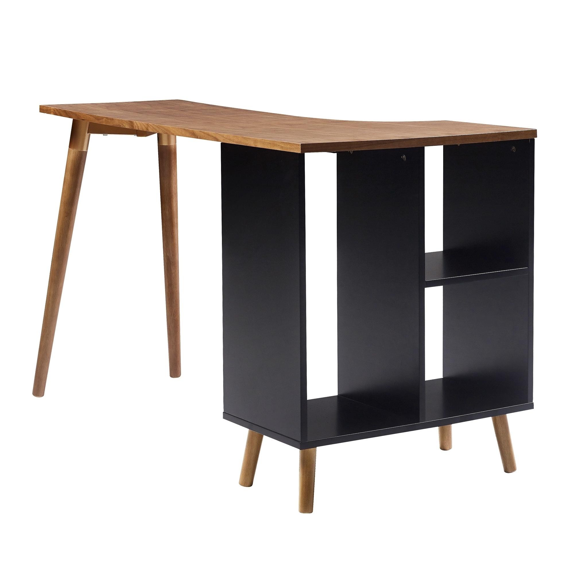 office desk walnut. Shop Versanora - Bloccare Office Desk Walnut/Black Free Shipping Today  Overstock.com 19626500 Office Desk Walnut